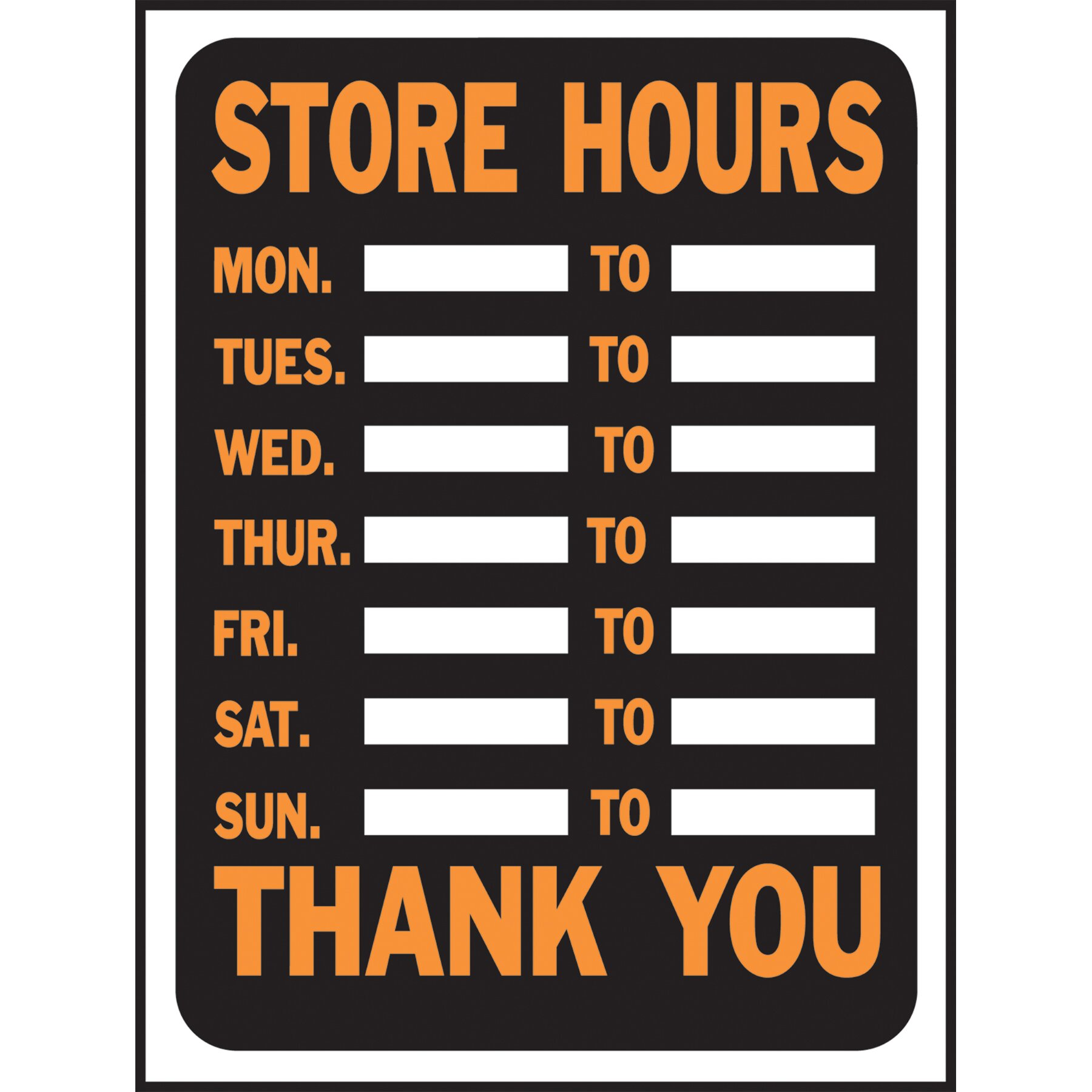 store hours sign wayfair supply
