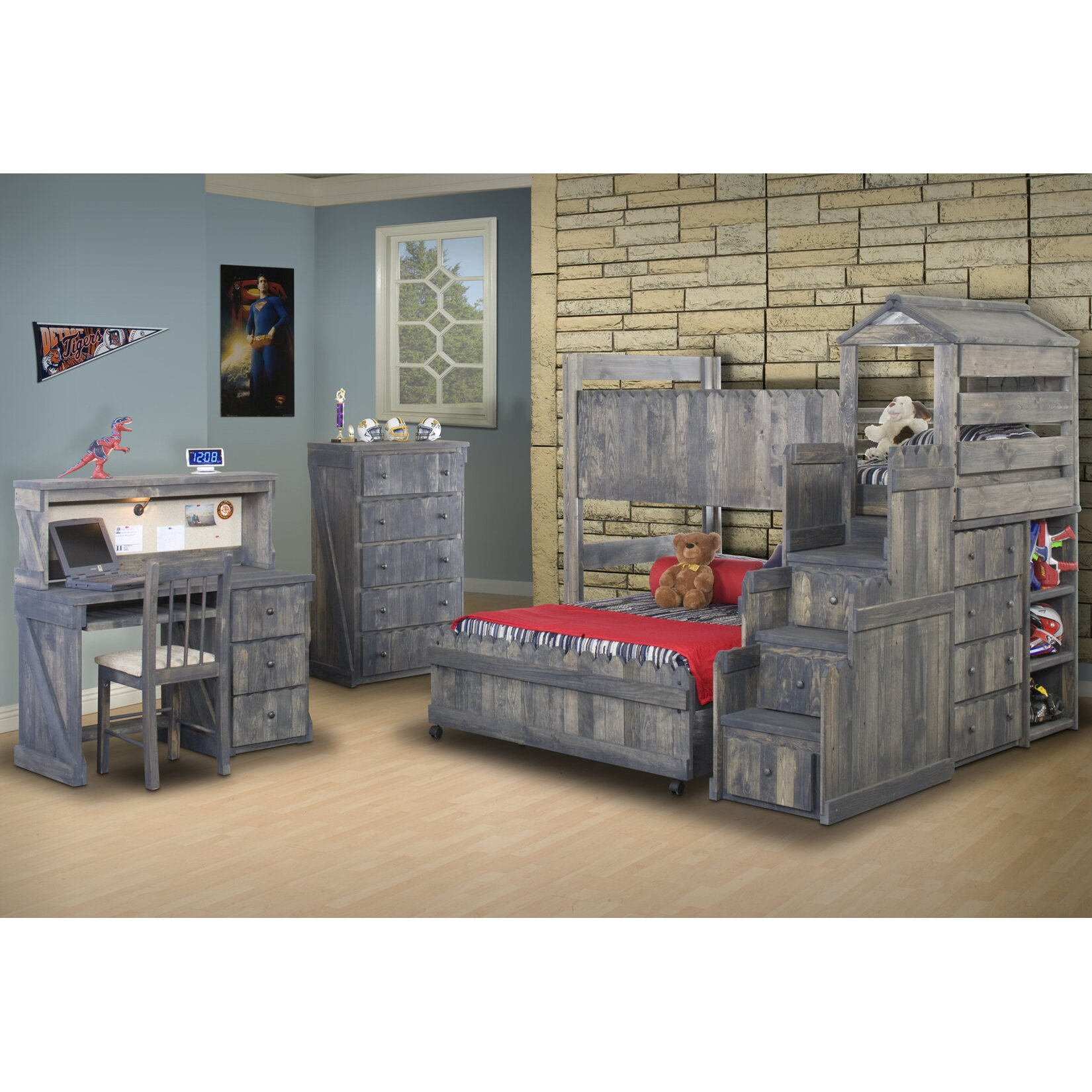Chelsea Home Twin Over Full L Shaped Bunk Bed Customizable