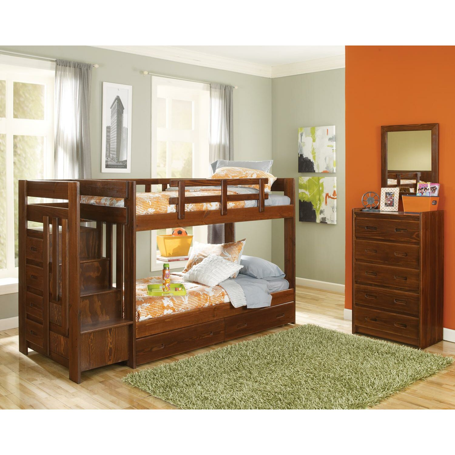 Bed Over Stair Box With Storage And Stairs: Chelsea Home Twin Customizable Bedroom Set & Reviews