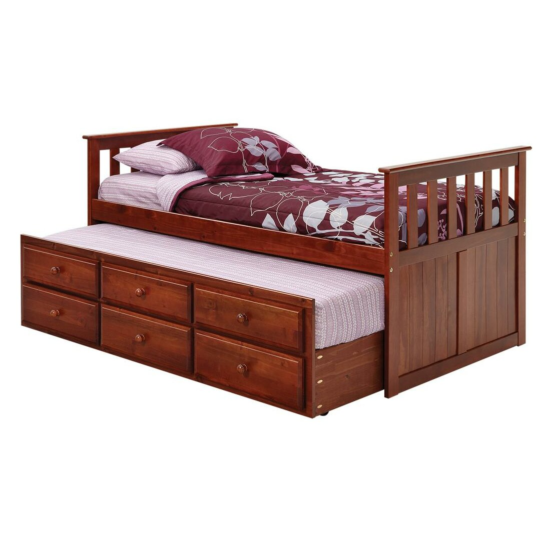 chelsea home twin captain bed with trundle and storage reviews wayfair. Black Bedroom Furniture Sets. Home Design Ideas
