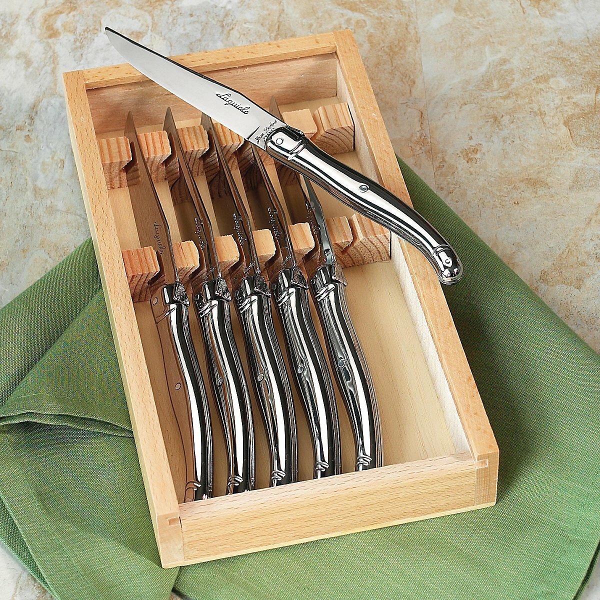 jean dubost laguiole steak knife set reviews wayfair. Black Bedroom Furniture Sets. Home Design Ideas