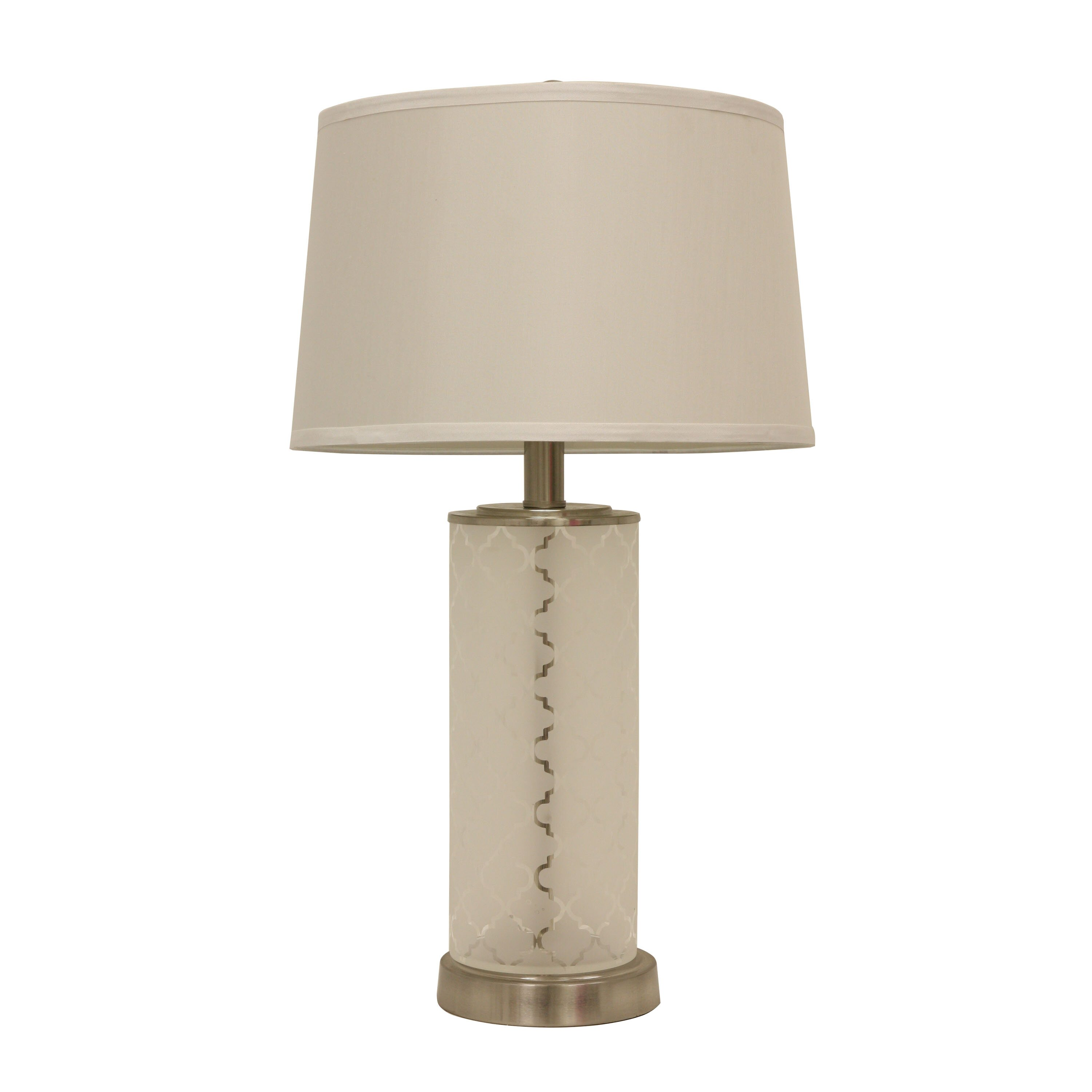 decor therapy quadrafoil etched glass 28 5 table lamp with drum shade. Black Bedroom Furniture Sets. Home Design Ideas