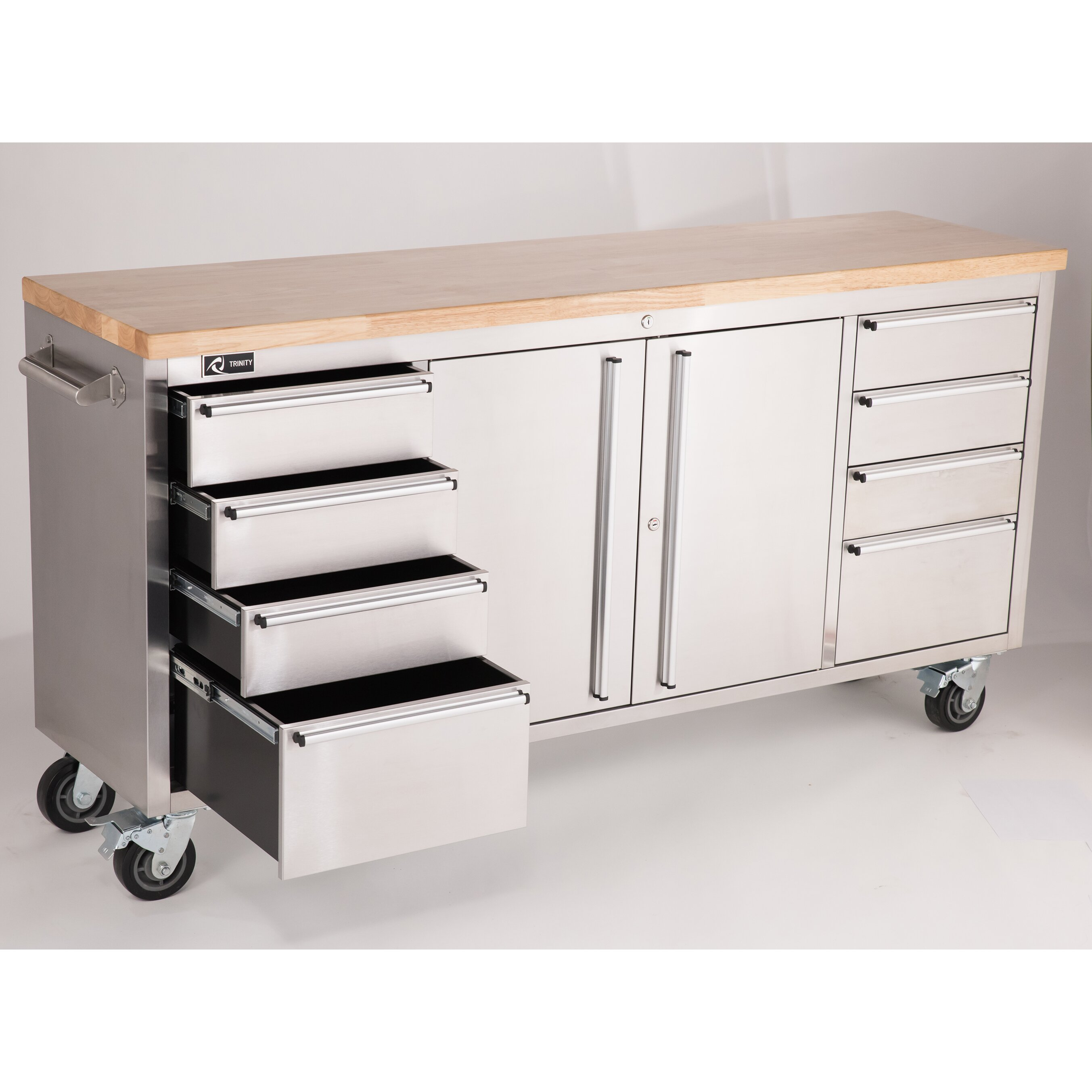stainless steel rolling workbench wayfair supply. Black Bedroom Furniture Sets. Home Design Ideas
