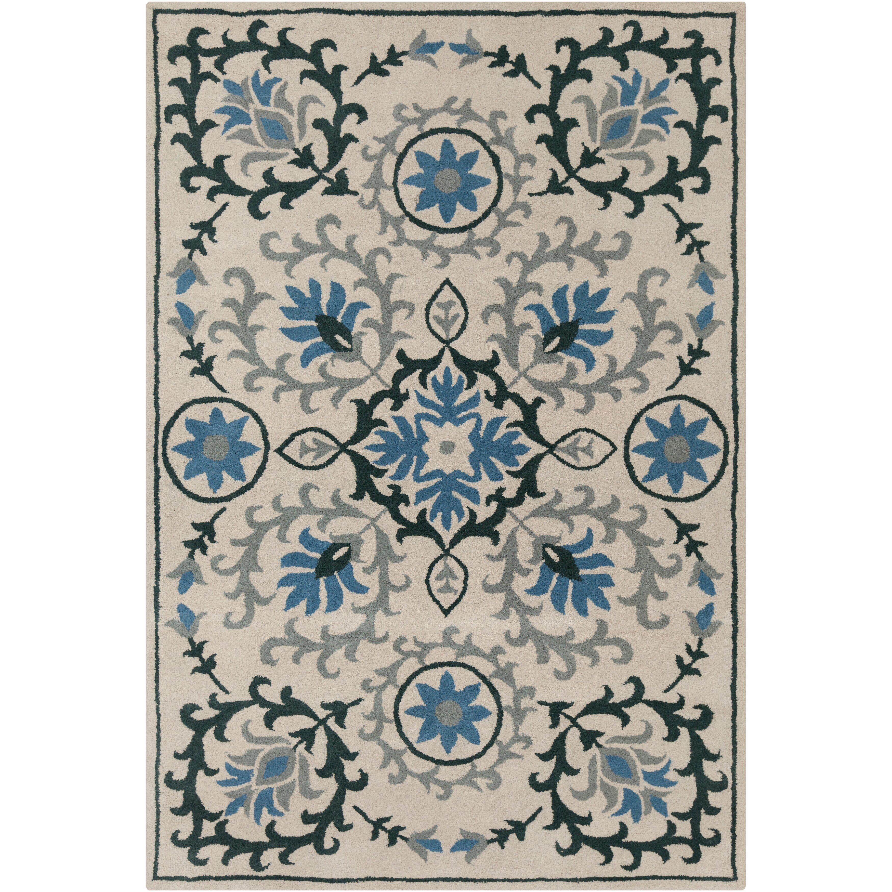 cinzia cream dark teal floral area rug wayfair. Black Bedroom Furniture Sets. Home Design Ideas