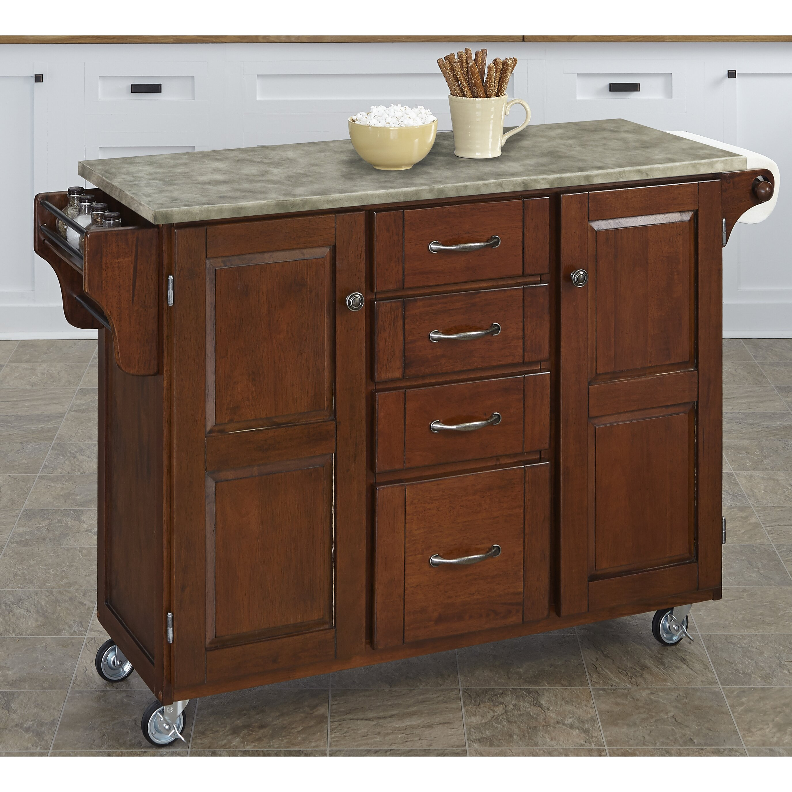 home styles create a cart kitchen island with concrete top