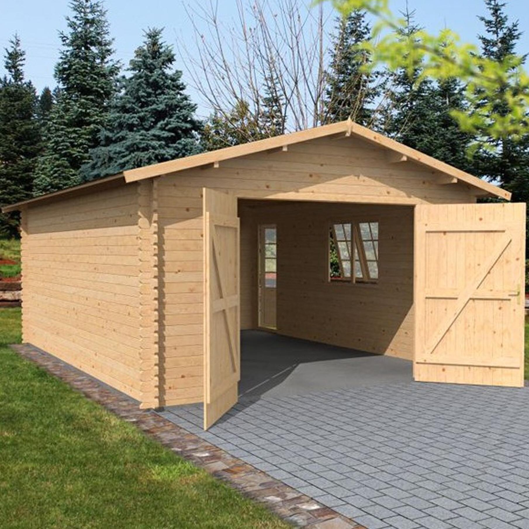 Mercia Garden Products 14 Ft W X 19 Ft D Wooden Garage