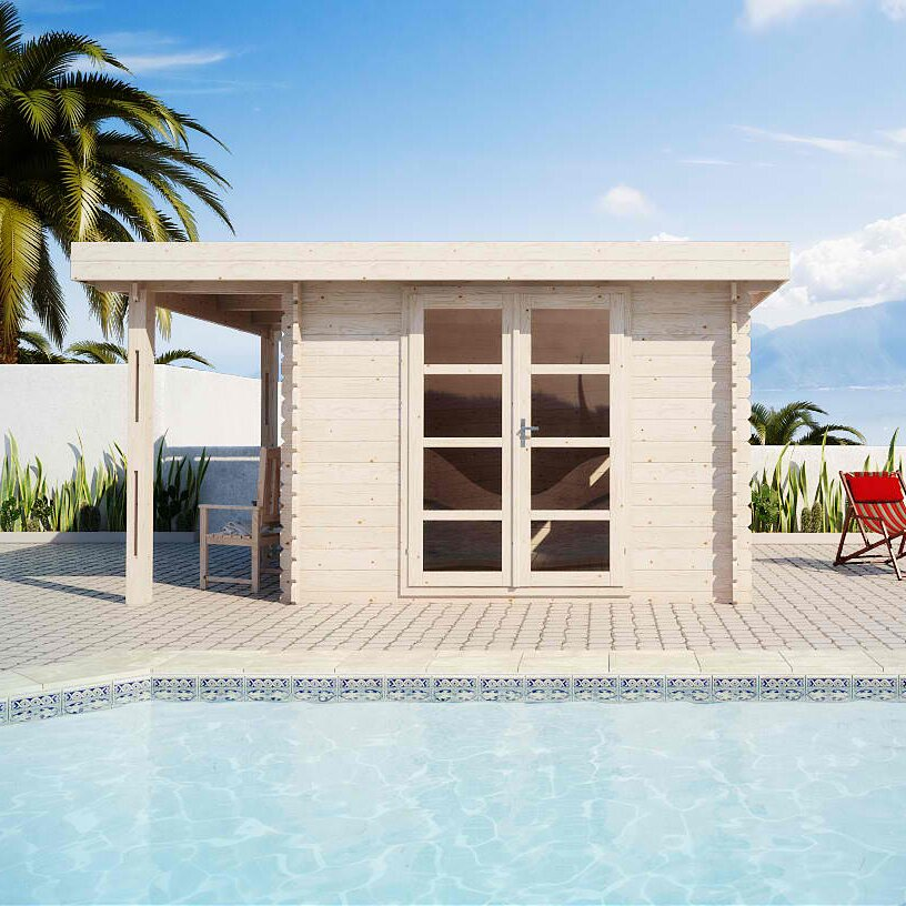 Moderna 13 Ft W x 10 Ft D Solid Wood Pool House and