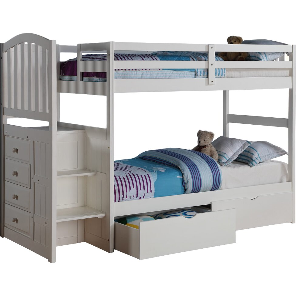Donco kids donco kids twin standard bunk bed with underbed for Kids twin bed with drawers