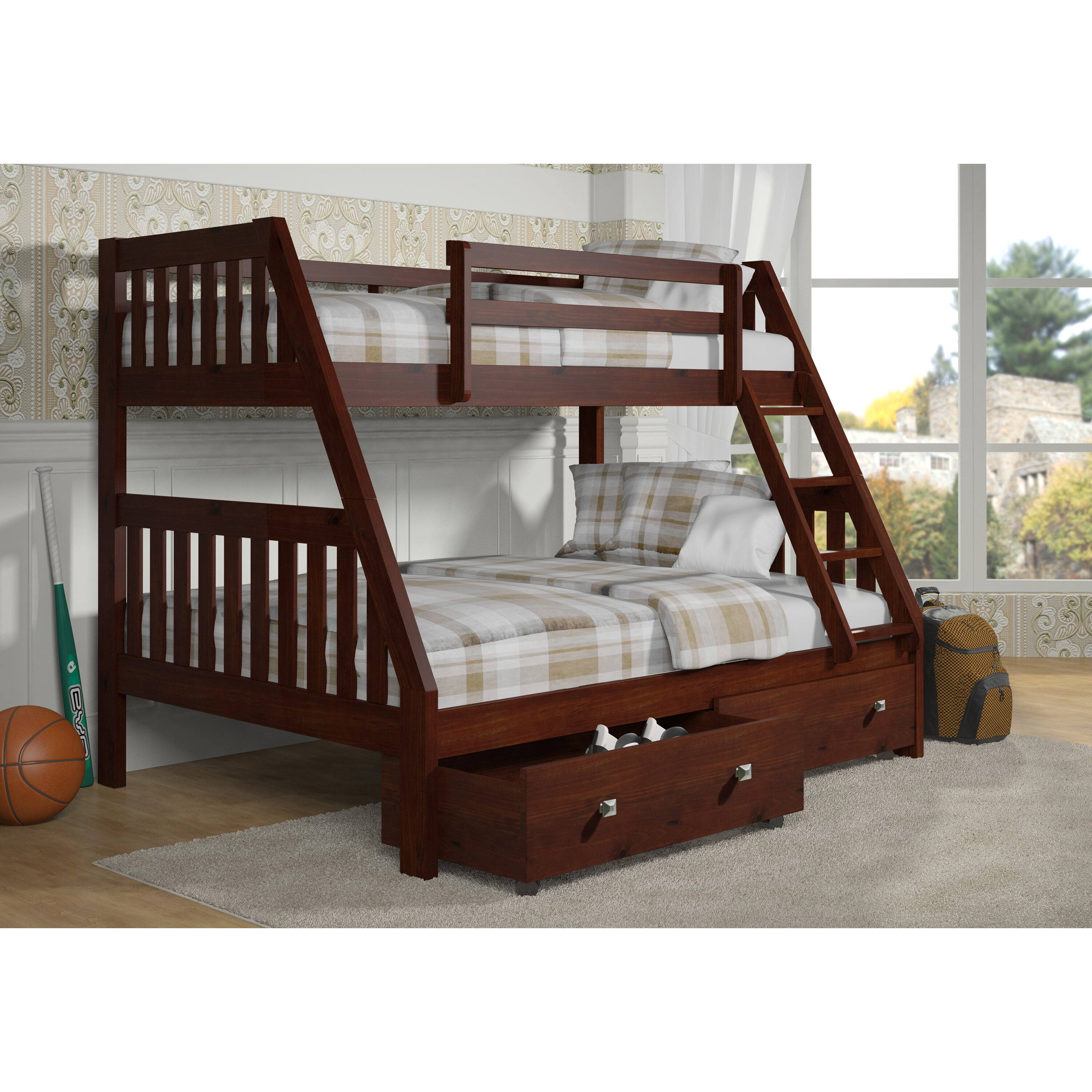Donco Kids Twin Over Full Bunk Bed With Dual Under Bed
