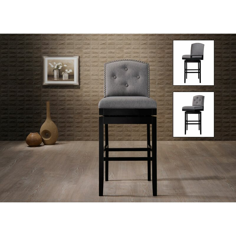 "Wholesale Interiors Cognac Dark Brown Leather Bar Stool: Wholesale Interiors 30.23"" Swivel Bar Stool & Reviews"