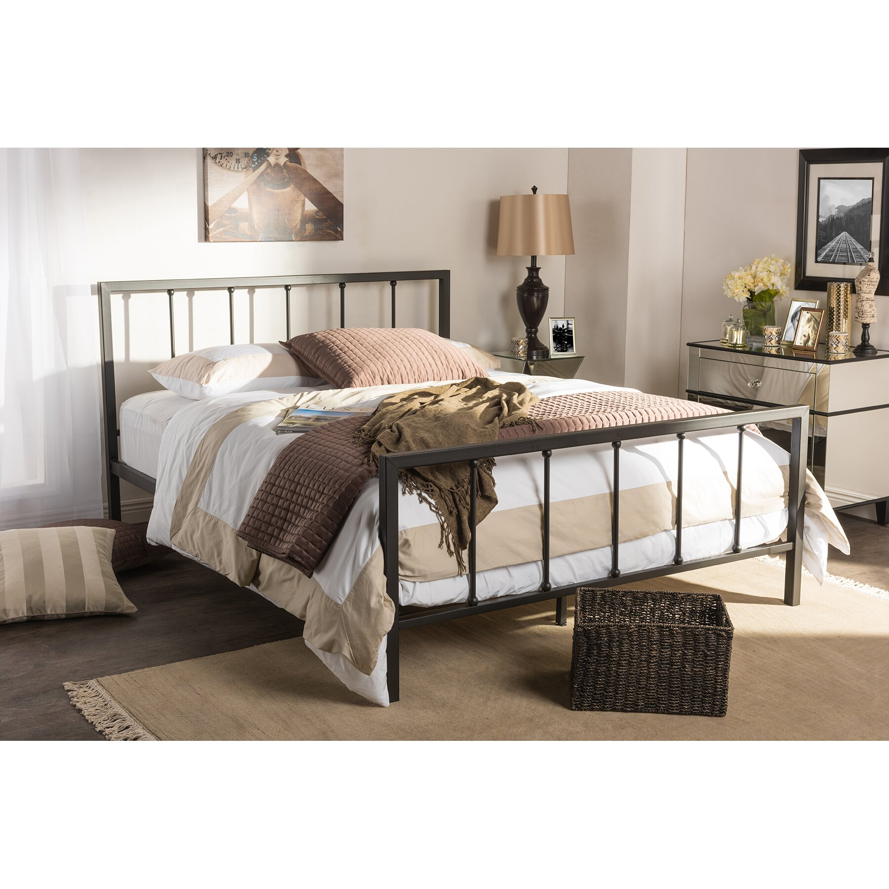 Amy And Antique Dark Bronze Full Size Iron Metal Platform Bed