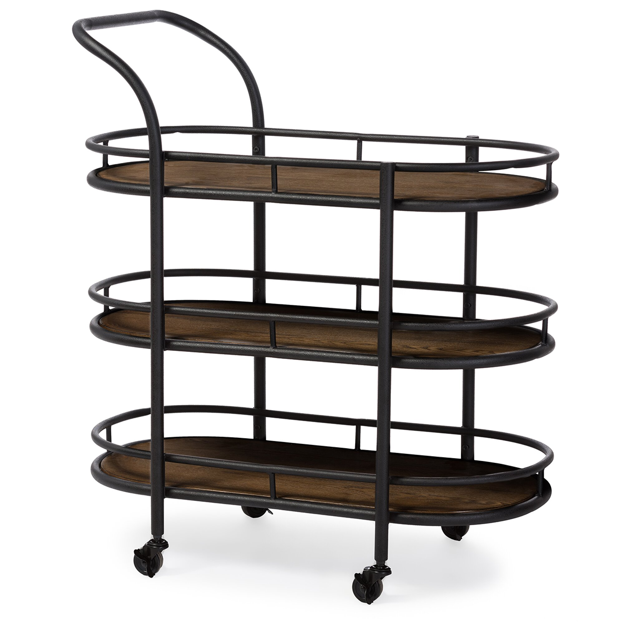 Bentley Industrial Metal And Wood Wheeled Kitchen Serving: Wholesale Interiors Karlin Serving Cart & Reviews
