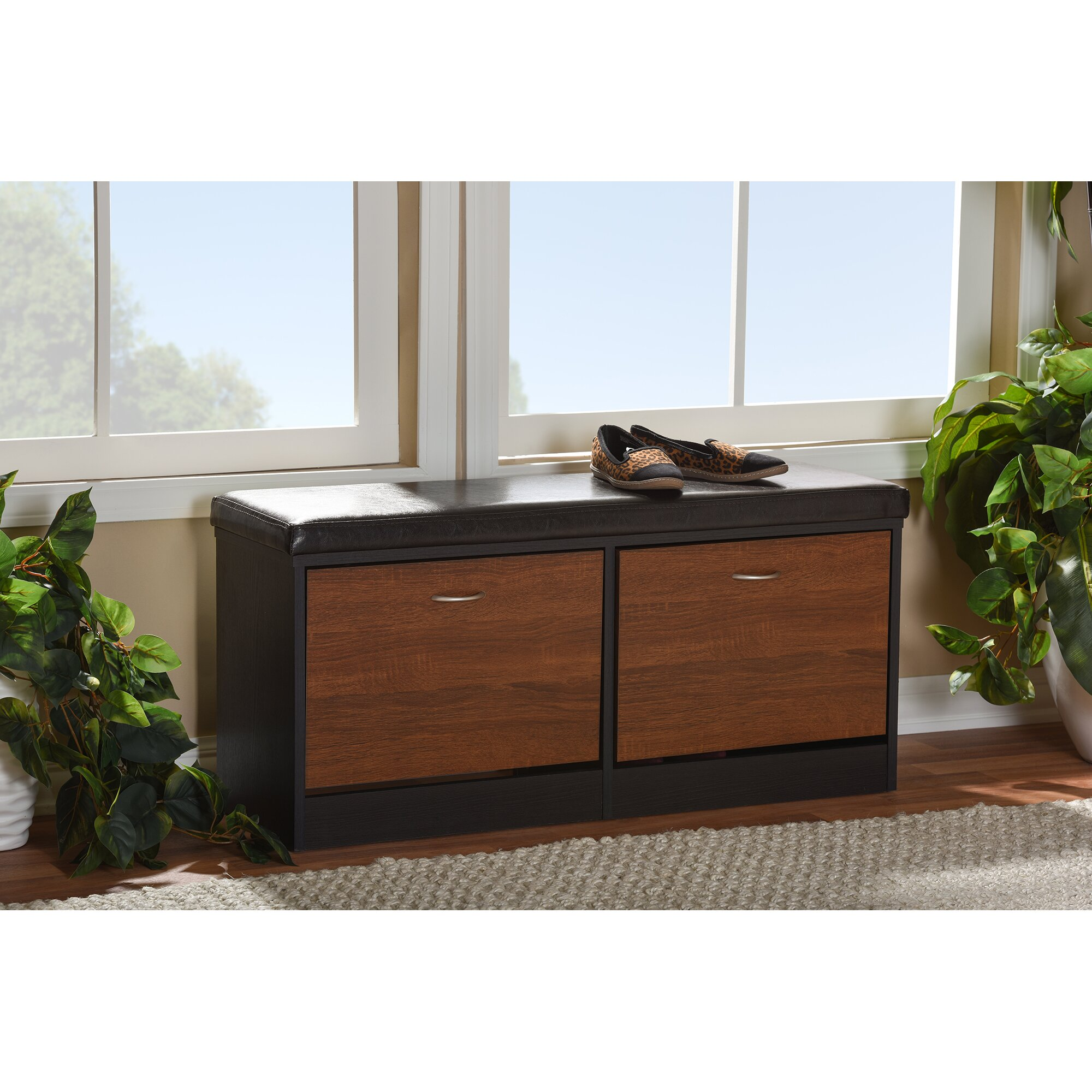 Modern Entryway Benches: Wholesale Interiors Foley Wood Storage Entryway Bench