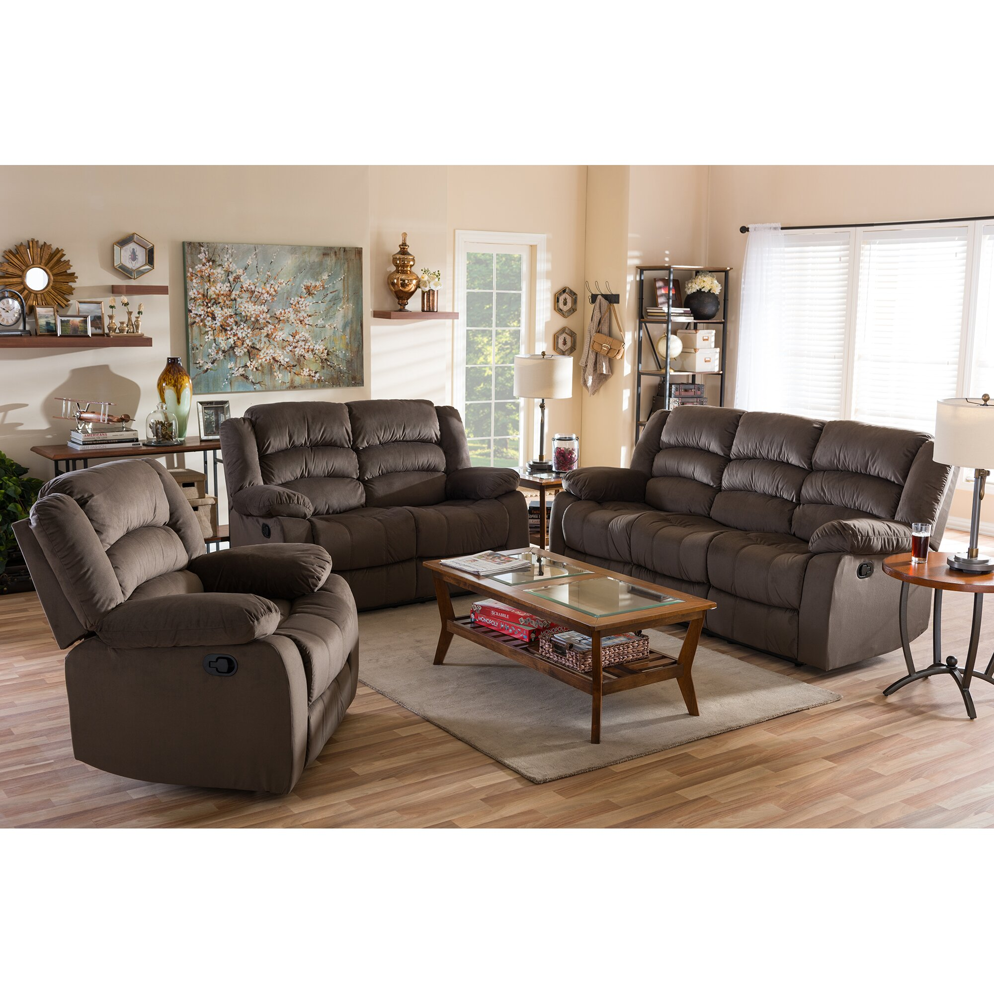 Baxton studio abele 3 piece living room set wayfair for Whole living room furniture sets