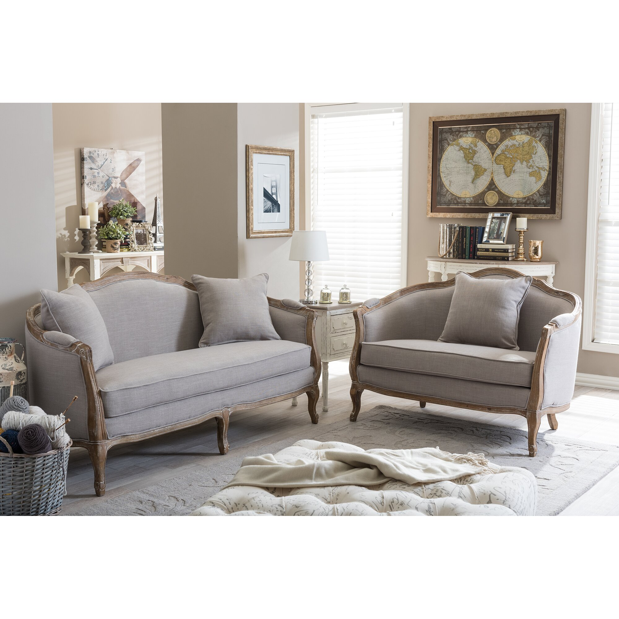 Baxton studio benito sofa and loveseat set wayfair Living room furniture sets studio
