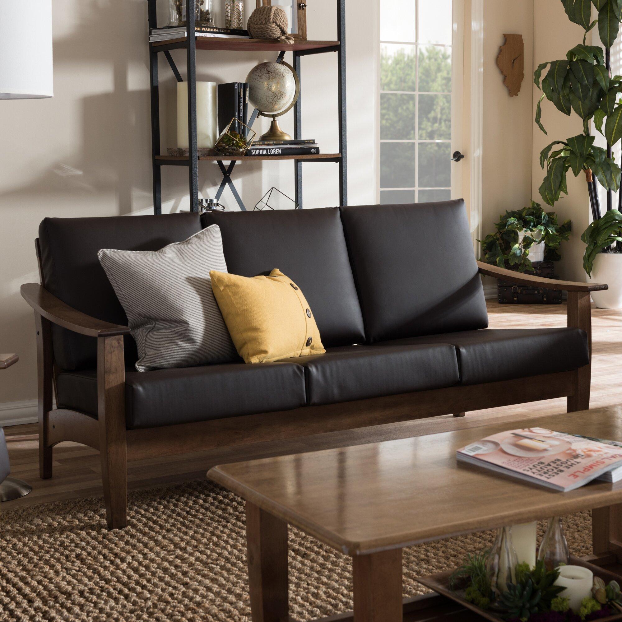 Baxton Studio Mid Century Masterpieces White Faux Leather: Wholesale Interiors Baxton Studio 3 Seater Sofa & Reviews
