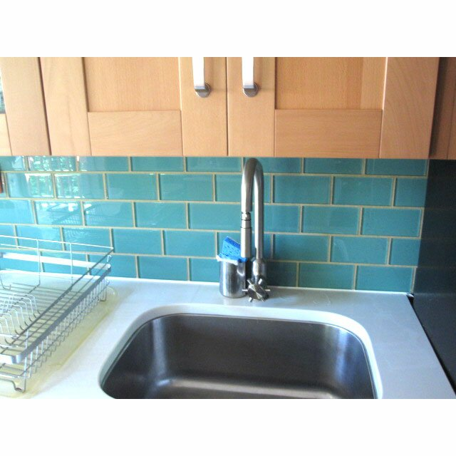 """Giorbello 6"""" X 3"""" Glass Subway Tile In Teal & Reviews"""