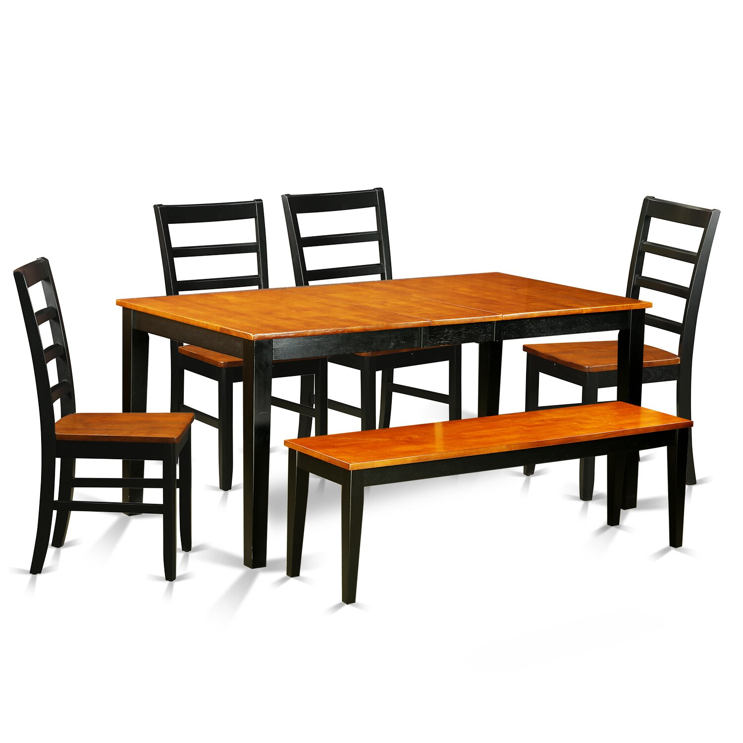 6 Piece Dining Room Set with Bench kitchen Tables and 4 Solid Wood Dining Chairs Plus Bench NIPF6 BCH EWFR