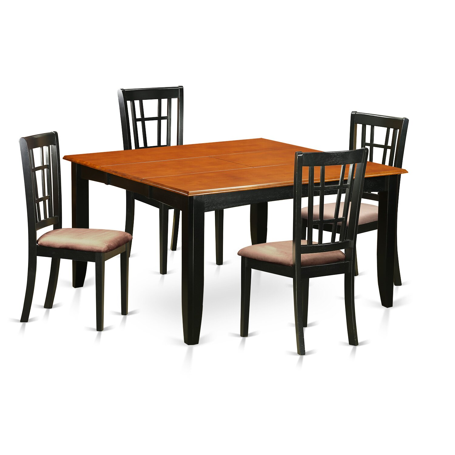 5 PC Dining Room Table Set Dining Table and 4 Solid Wood Dining Chairs PFNI5 BCH EWFR