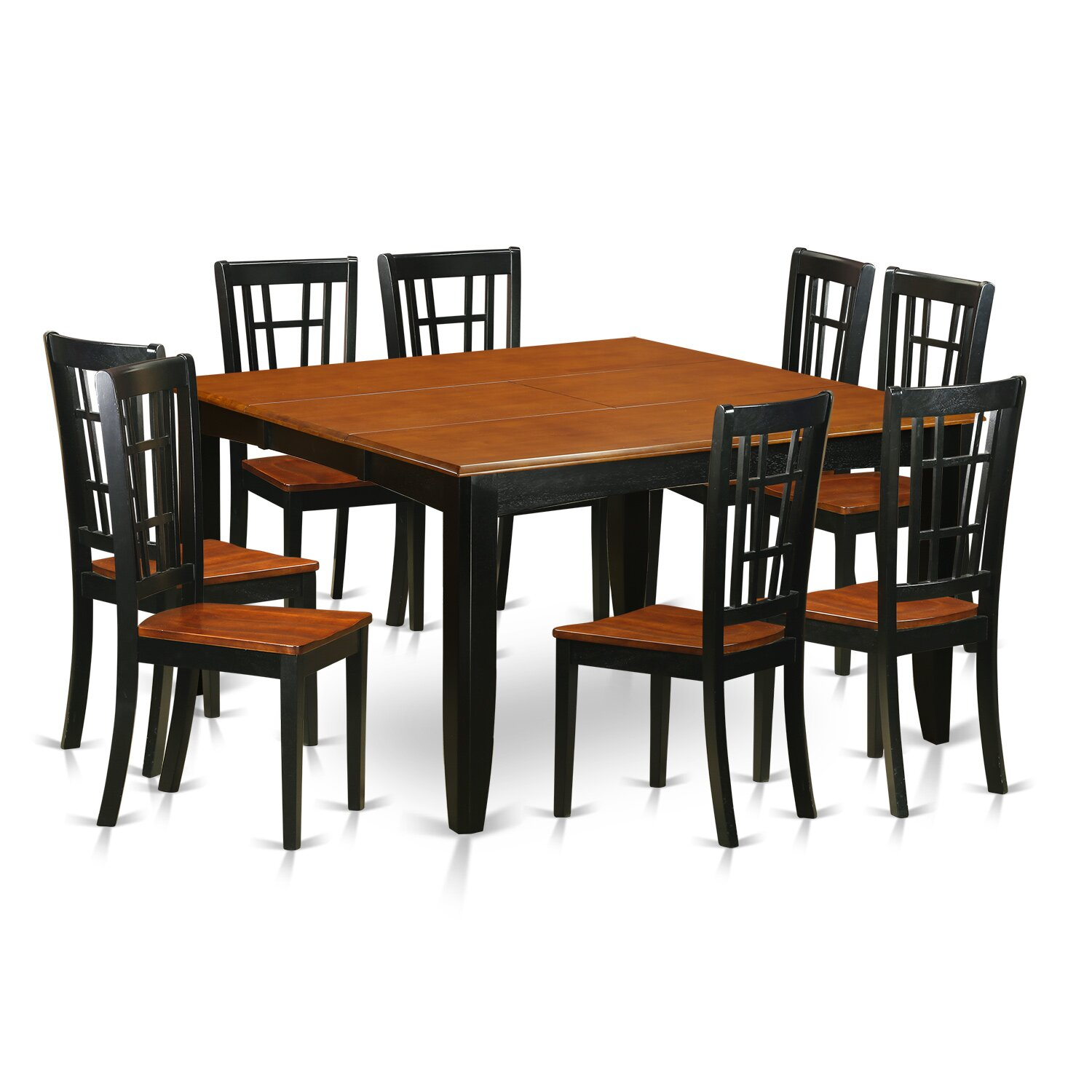 pc dining room set dining table and 8 solid wood dining chairs pfni9