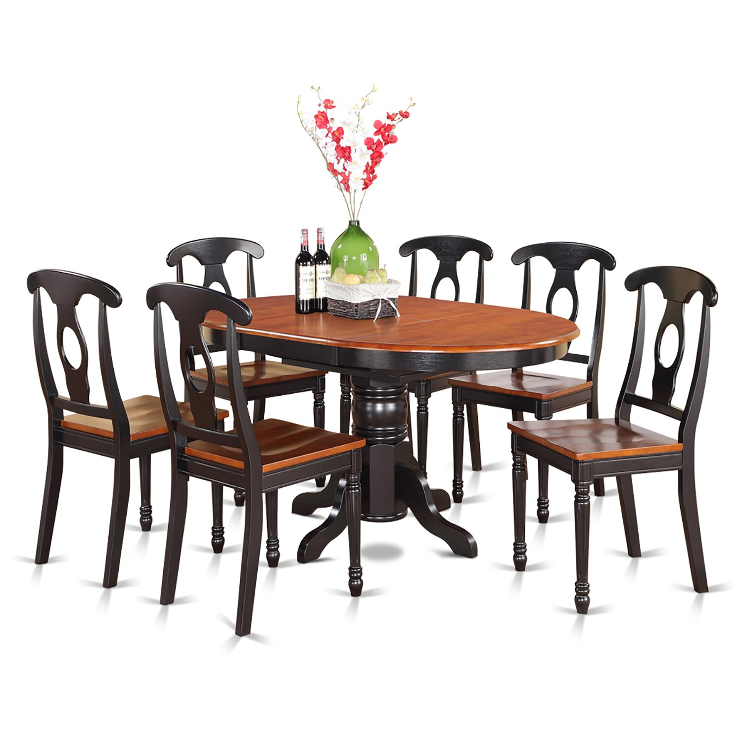 Piece Dining Table Set Oval Dining Table And 6 Dining Chairs KENL7 W