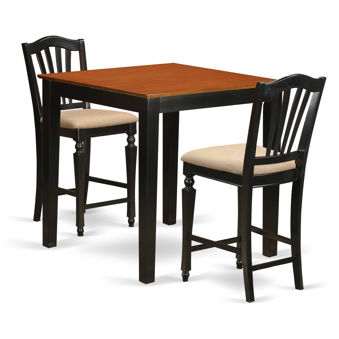 3 piece counter height pub table set wayfair. Black Bedroom Furniture Sets. Home Design Ideas