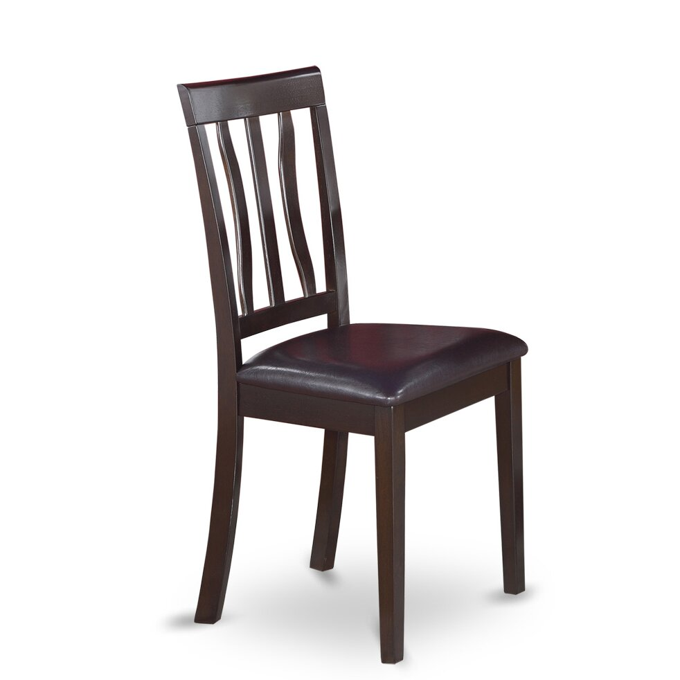 Wooden Importers Antique Side Chair With Faux Leather Seat