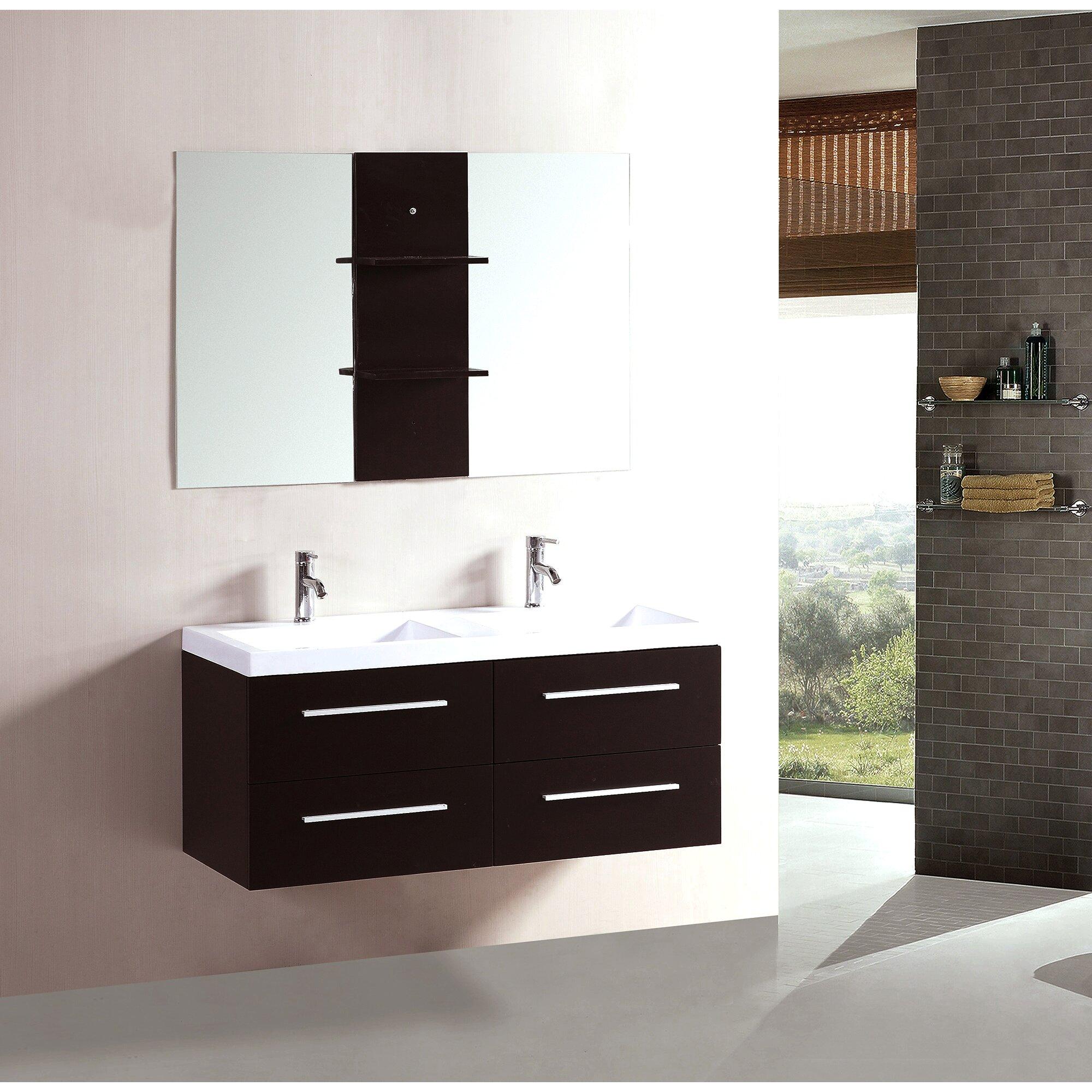 kokols 48 double floating bathroom vanity set with mirror