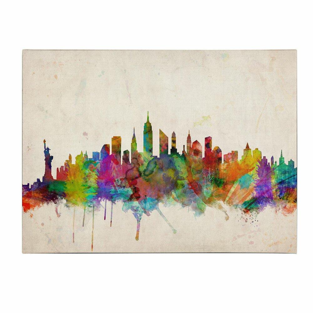 "Watercolor New York: Trademark Art ""New York Skyline"" By Michael Tompsett"