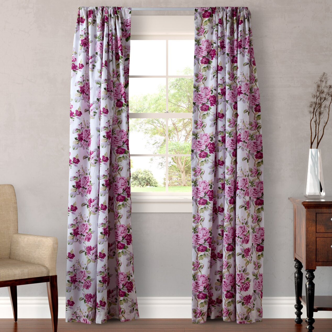 laura ashley home lidia curtain panel set reviews wayfair. Black Bedroom Furniture Sets. Home Design Ideas