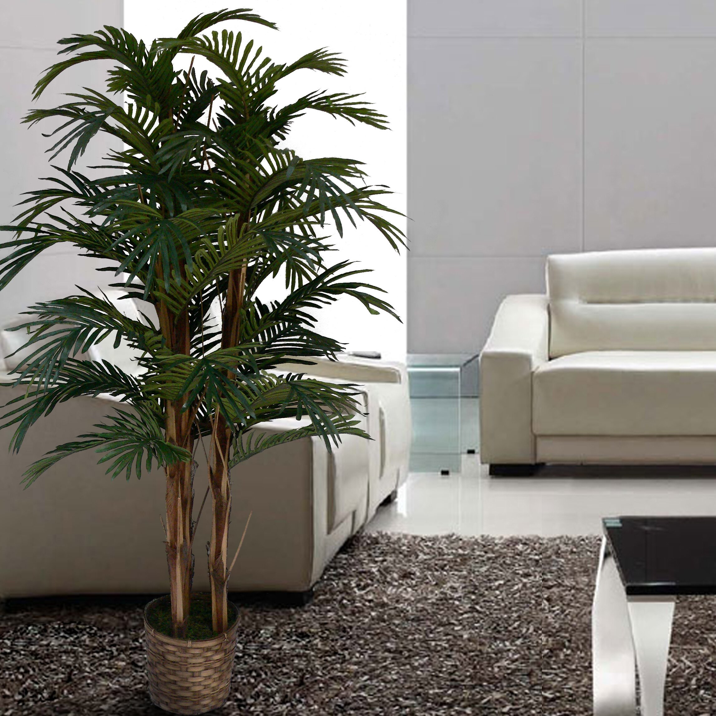 Laura ashley home tall high end realistic silk palm tree in basket reviews wayfair for Artificial tree for living room