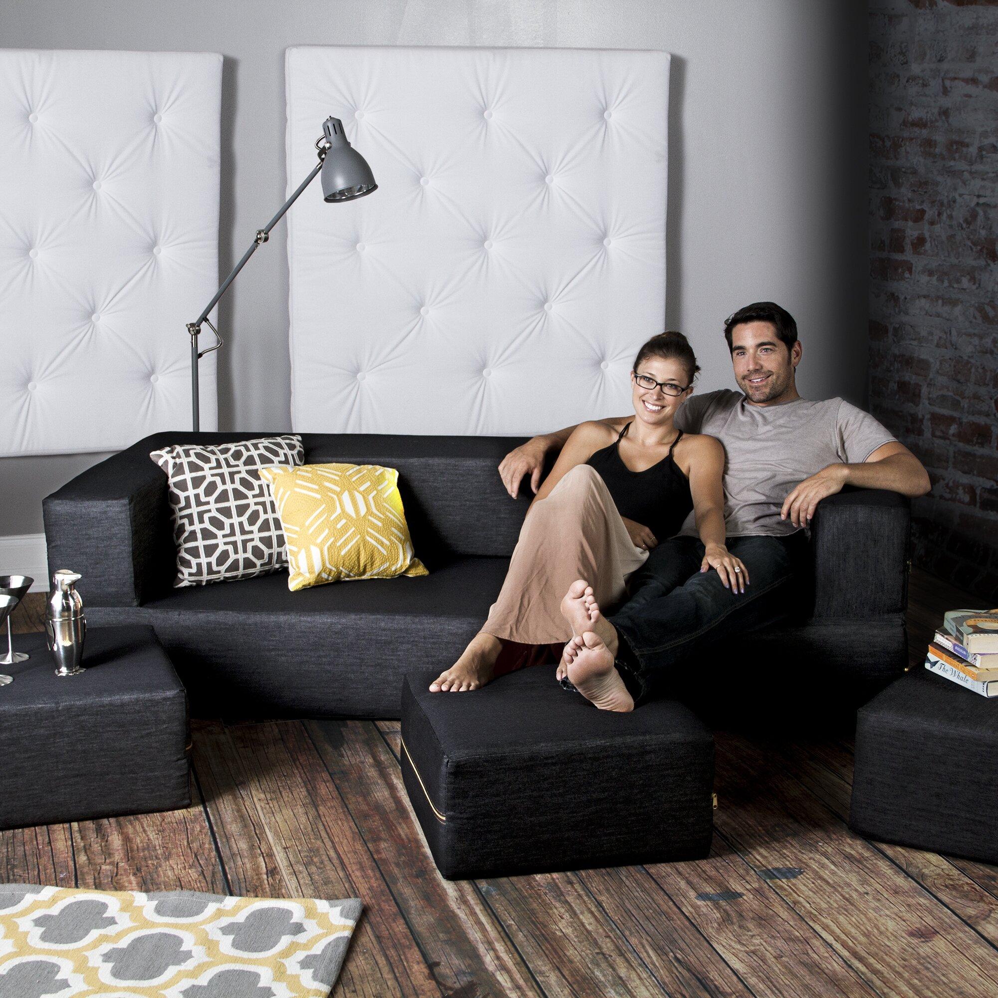 Jaxx Zipline Convertible Sleeper Sofa with Ottomans ...