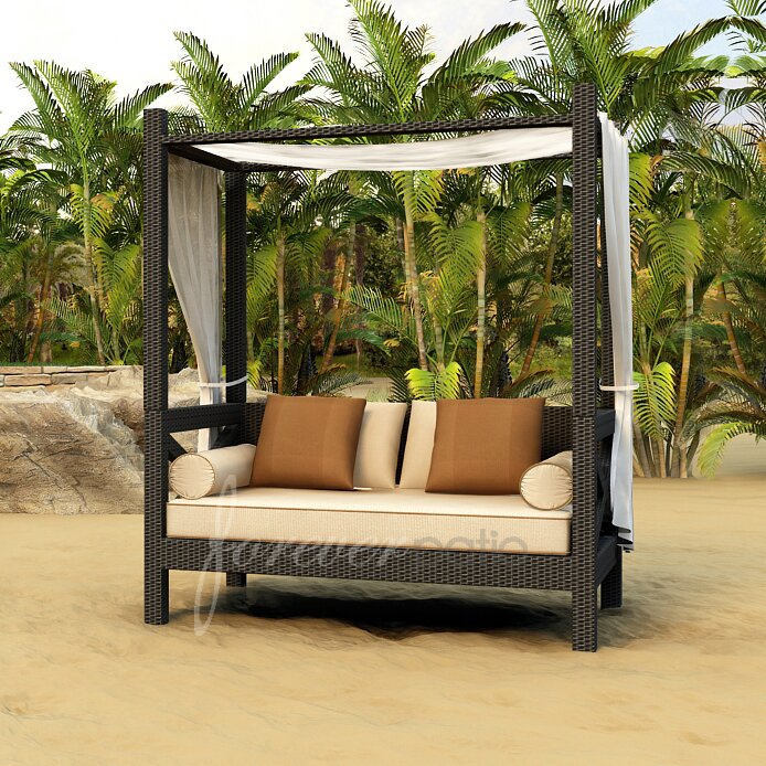 outdoor wicker daybed with removable pergola and canopy 2
