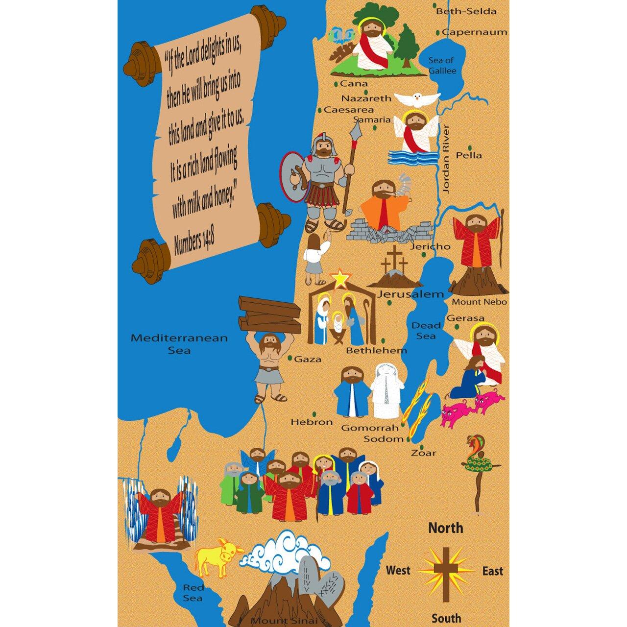 Holy Land Map Sunday School Area Rug