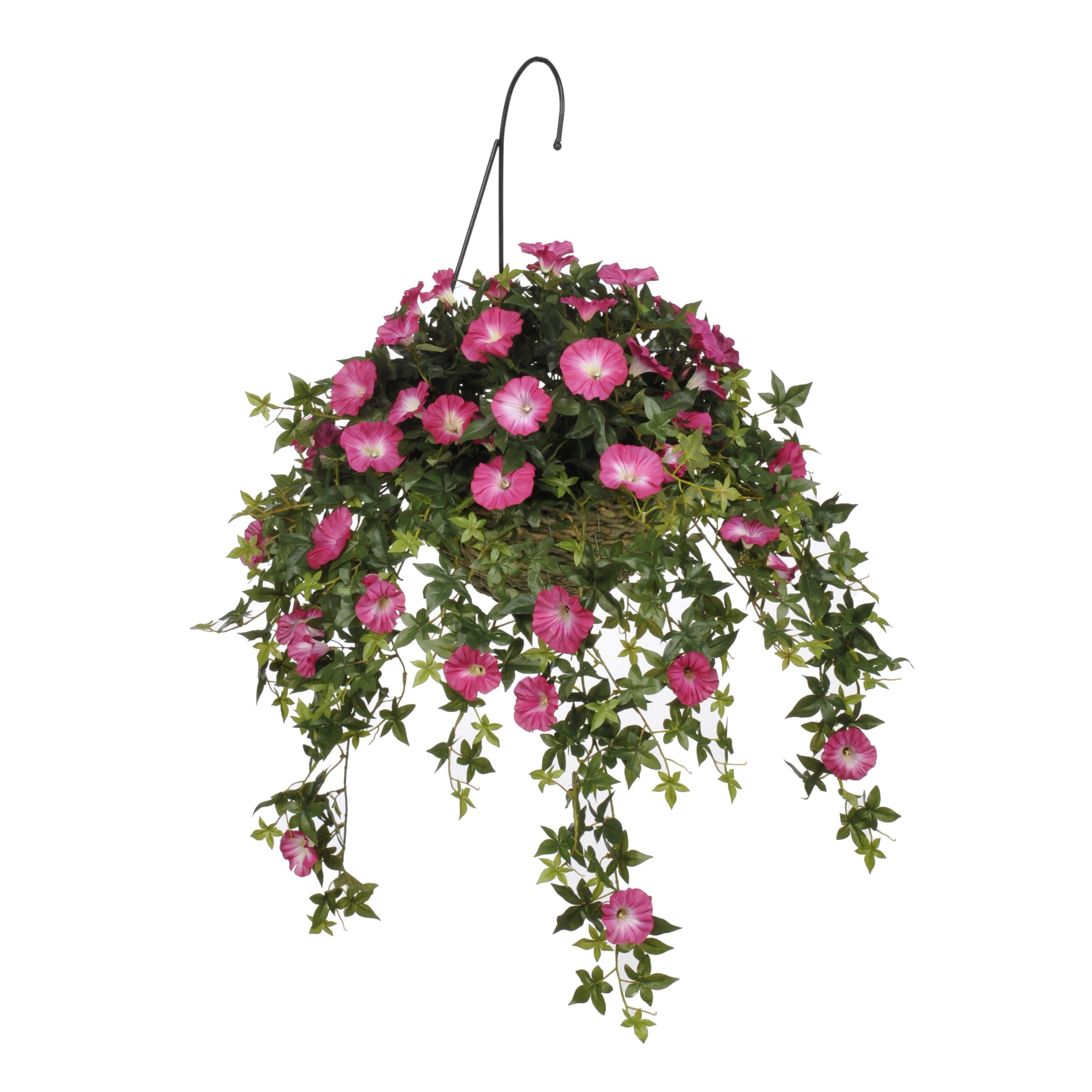 house of silk flowers artificial morning glory hanging plant in basket reviews wayfair. Black Bedroom Furniture Sets. Home Design Ideas