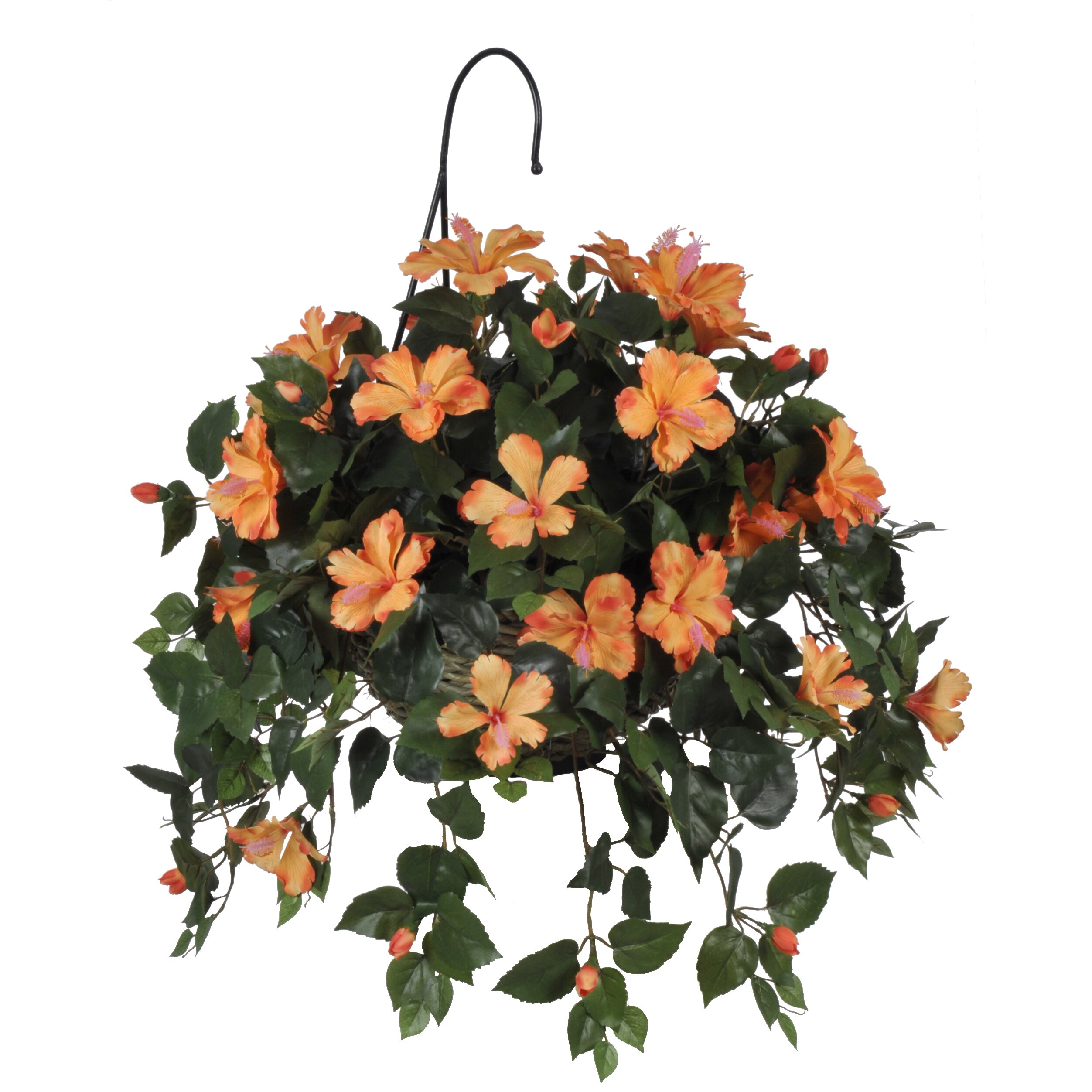 11 Real Roses And 1 Fake Artificial Hibiscus Hanging Plant In Basket Hf