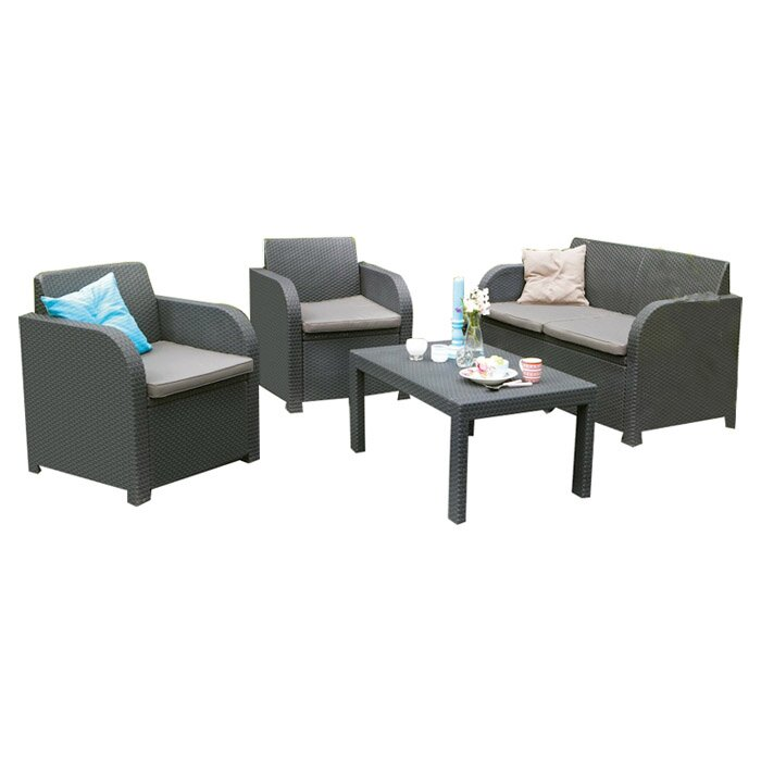 Suntime Outdoor Living Oklahoma 4 Piece Lounge Seating Group With Cushions Reviews Wayfair