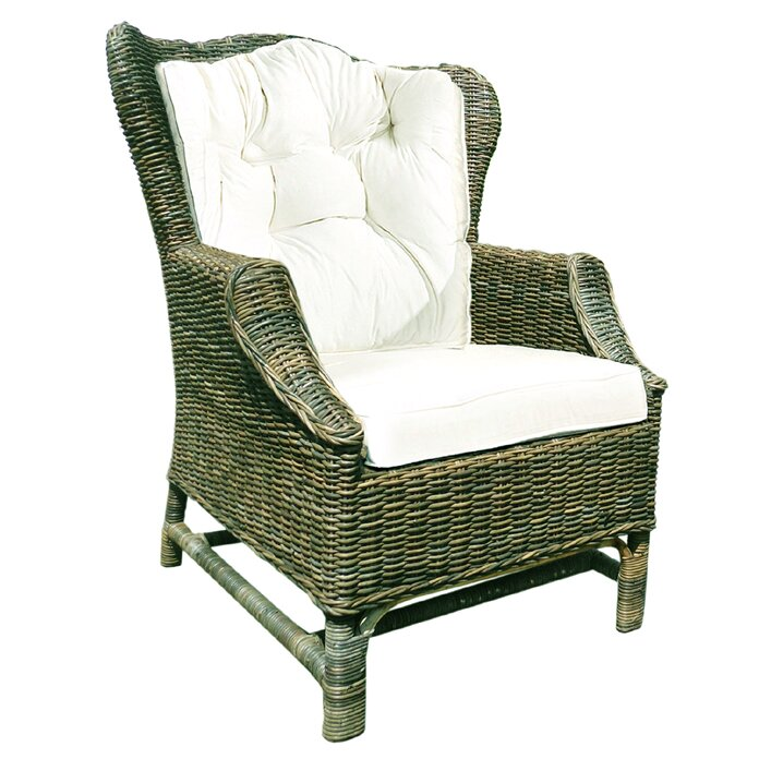 Rattan Wicker Wingback Chair with Cushions
