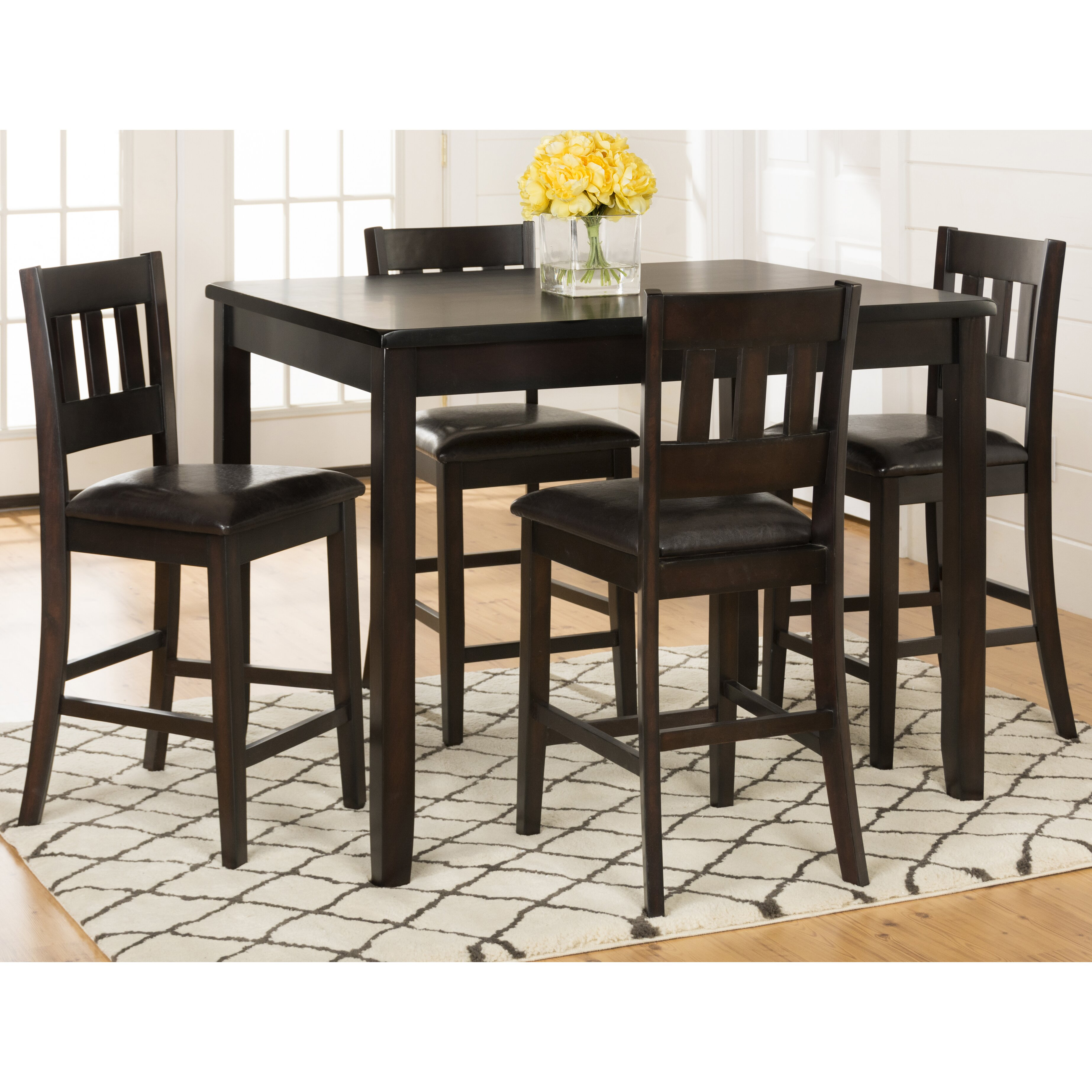 dark rustic prairie counter height table and four stools