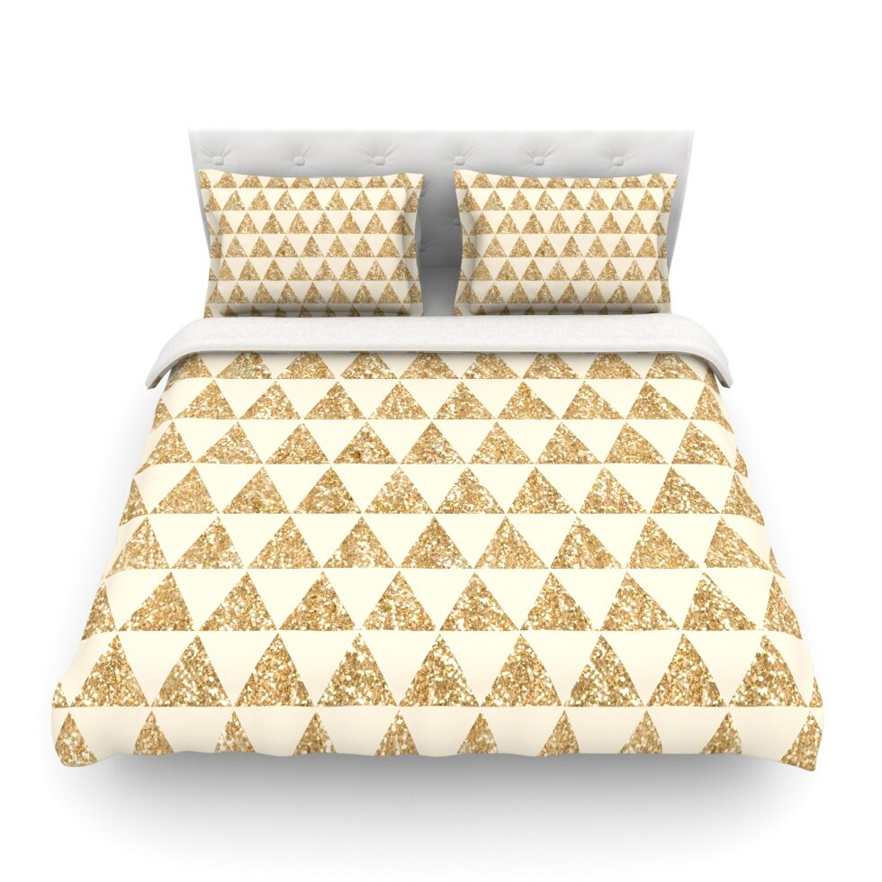 glitter triangles in gold and black by nika martinez geometric featherweight duvet cover wayfair. Black Bedroom Furniture Sets. Home Design Ideas