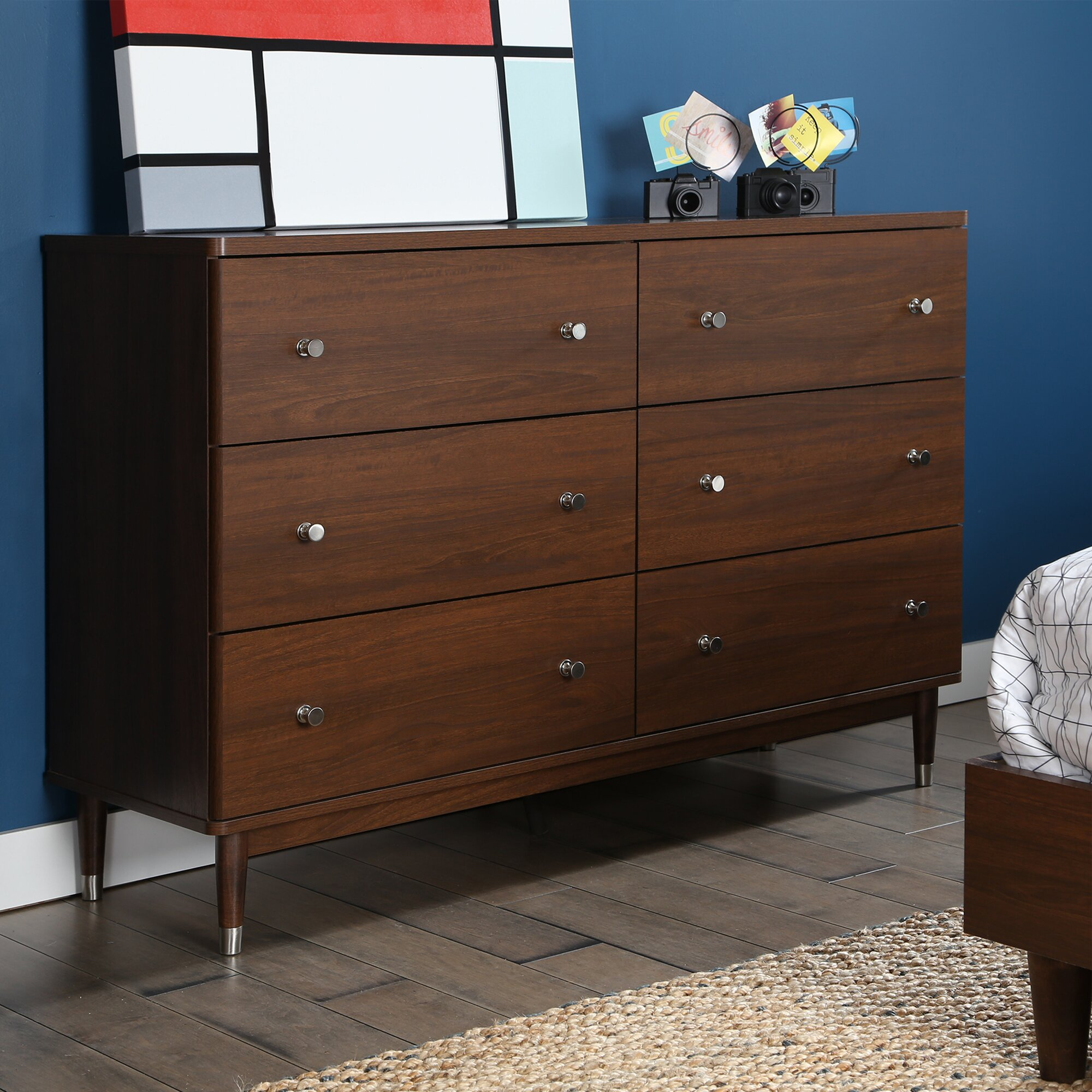 south shore olly mid century modern 6 drawer dresser reviews wayfair. Black Bedroom Furniture Sets. Home Design Ideas