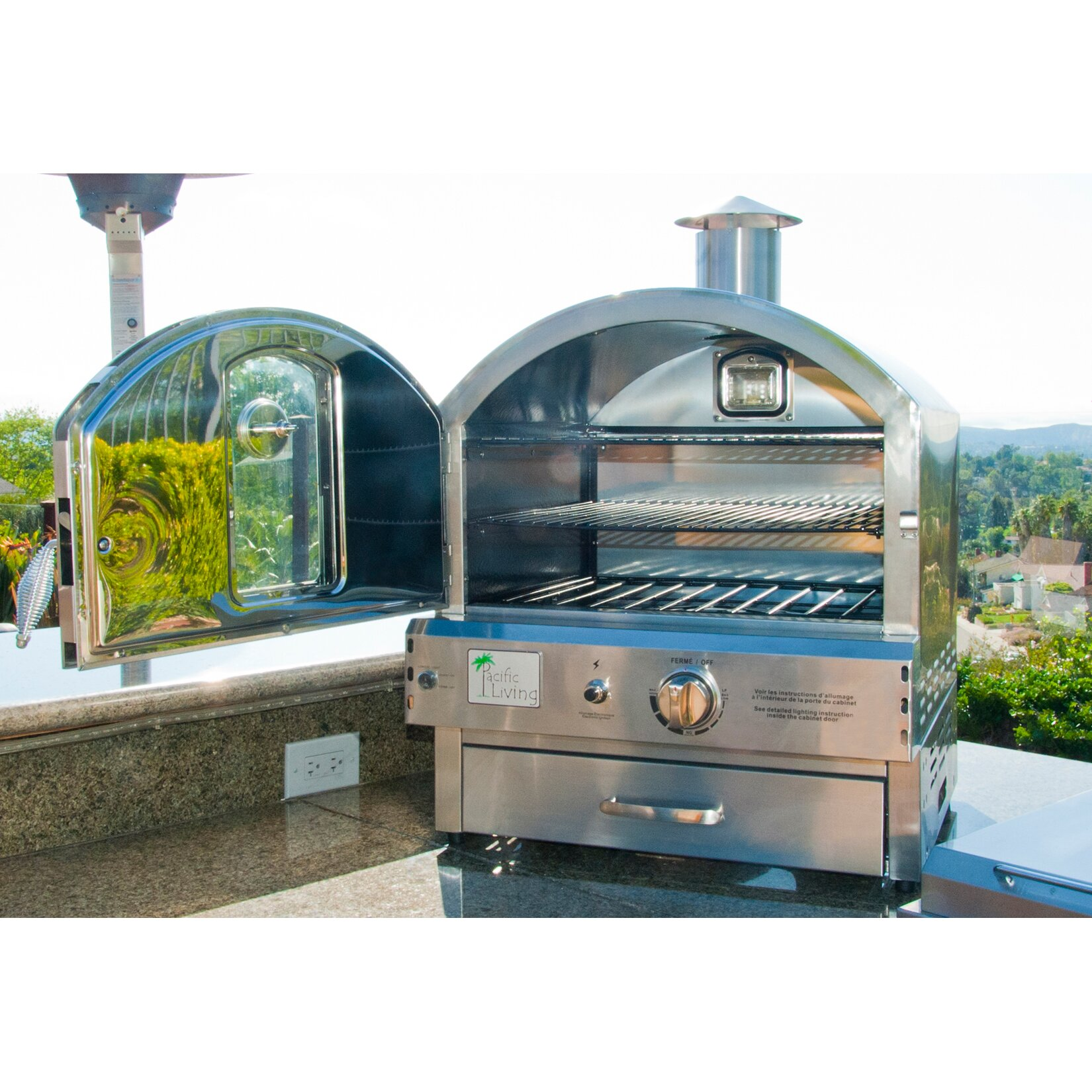 pacific living 22 8 outdoor pizza oven gas grill reviews wayfair. Black Bedroom Furniture Sets. Home Design Ideas