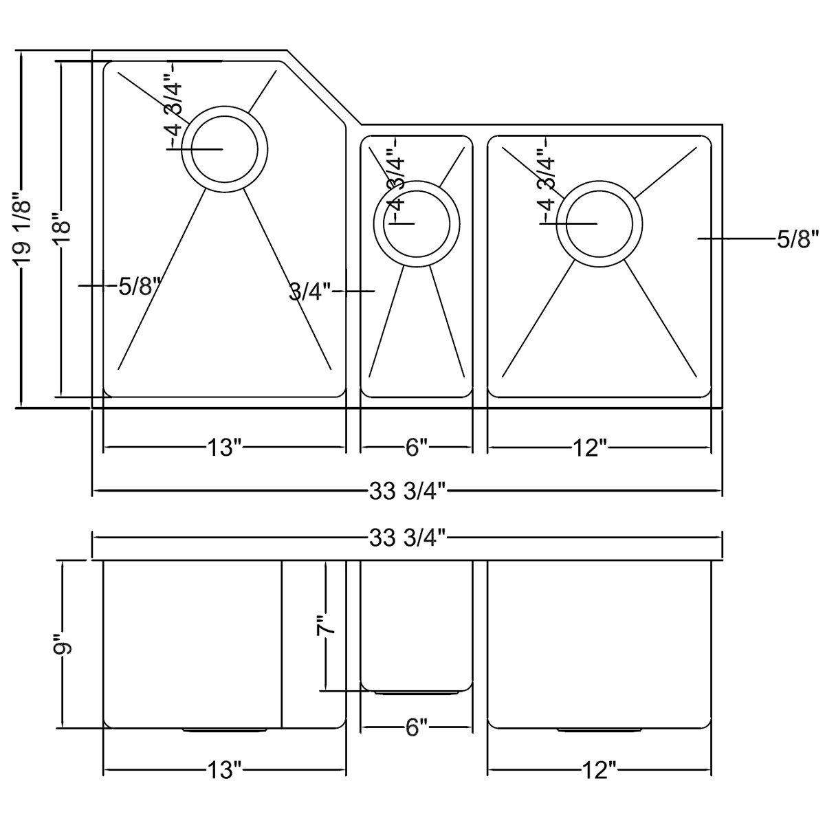 "Kitchen Sink 19 X 33: Ruvati Gravena 33.75"" X 19.13"" Undermount Triple Bowl"