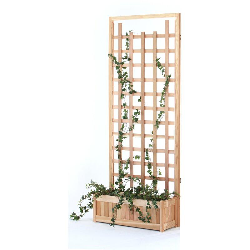 All things cedar 2 piece planter with trellis screen for Trellis planter garden screen