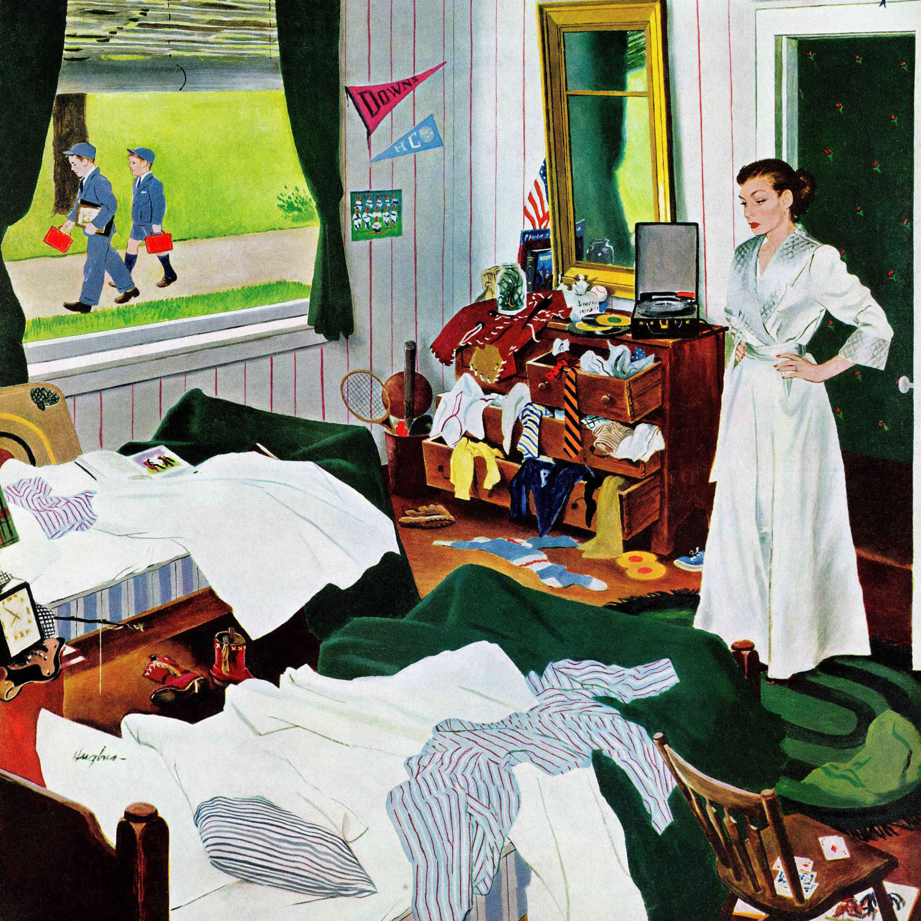 Messy Living Room: Messy Room, Neat Boys By George Hughes Painting Print On