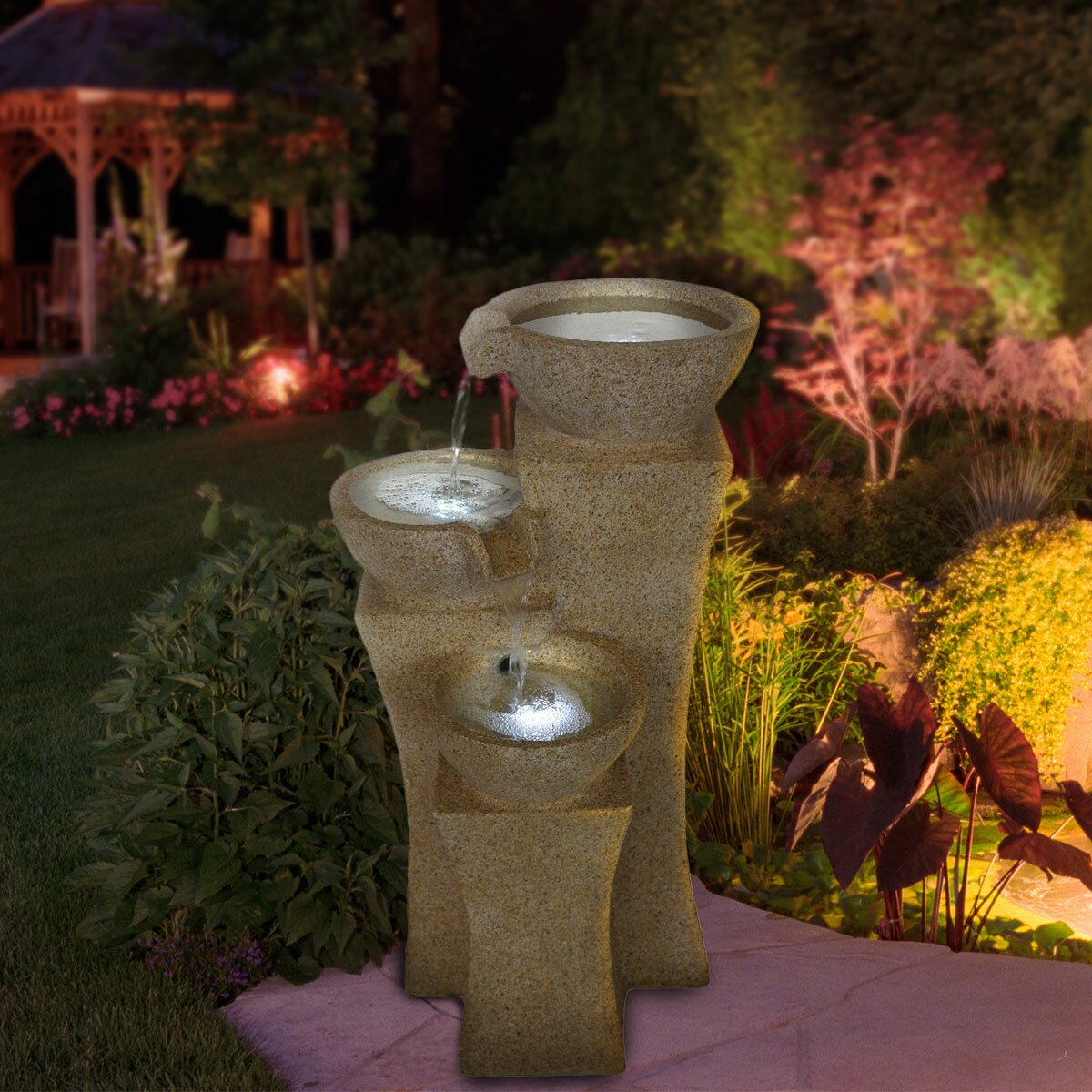 Pure Garden Lighted Polyresin Cascading Bowls Tiered Fountain ...