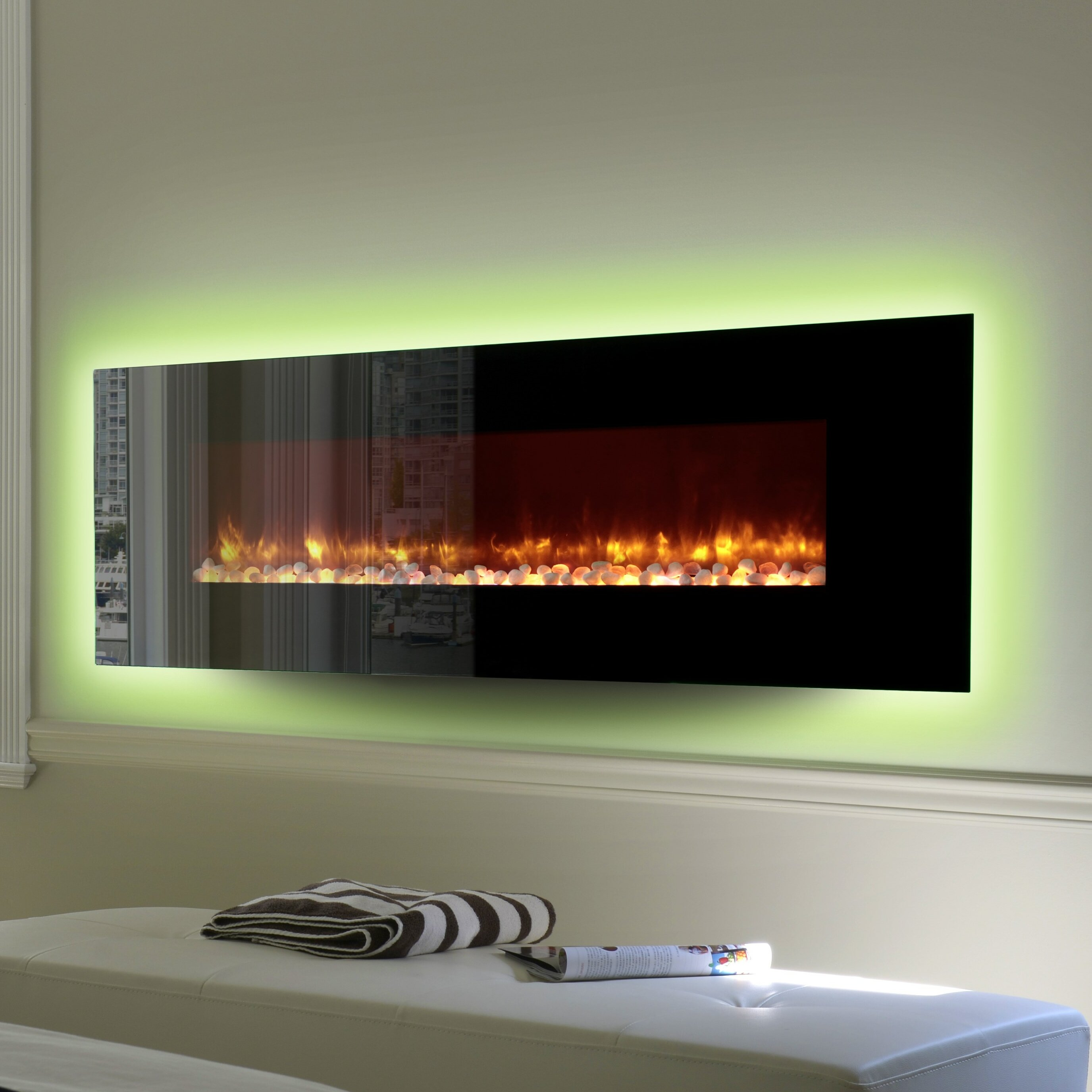 Led Wall Mount Electric Fireplace Wayfair