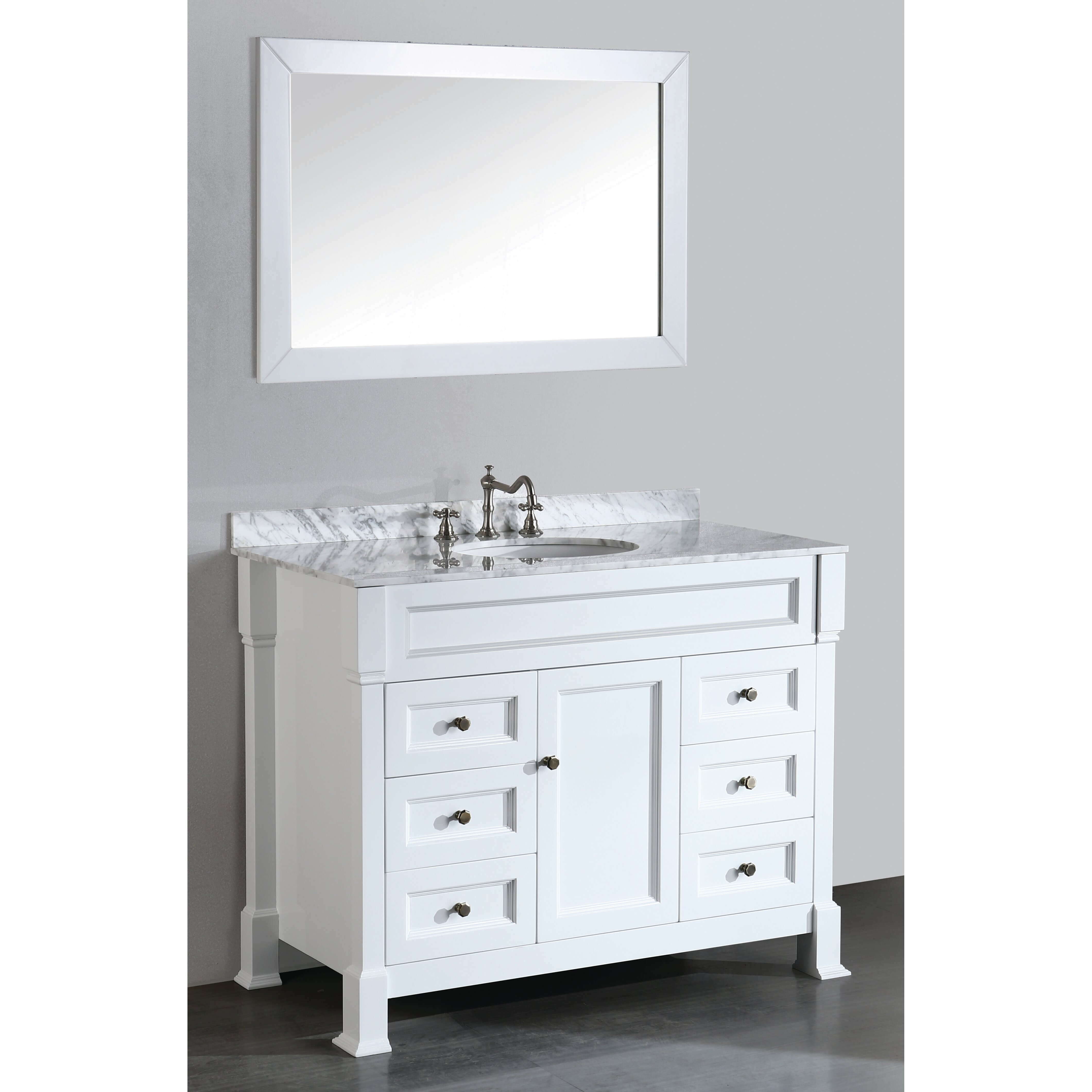 """Bosconi Contemporary 43"""" Single Bathroom Vanity Set with Mirror & Re"""