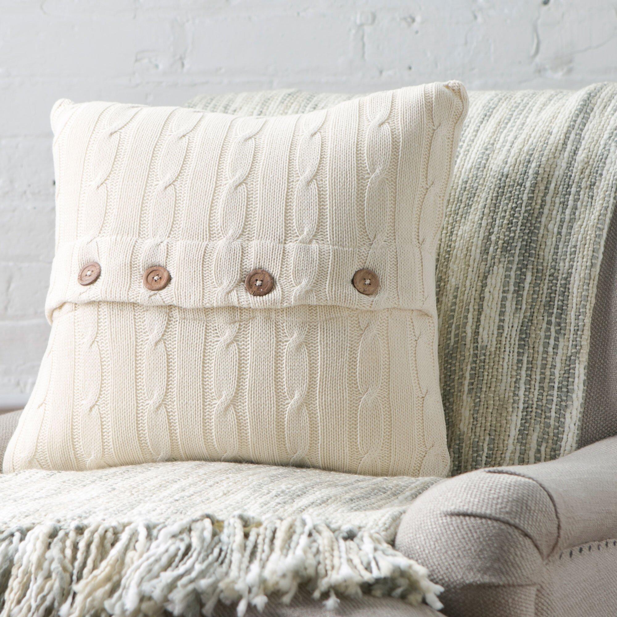 Birch lane clara cable knit pillow cover amp reviews wayfair