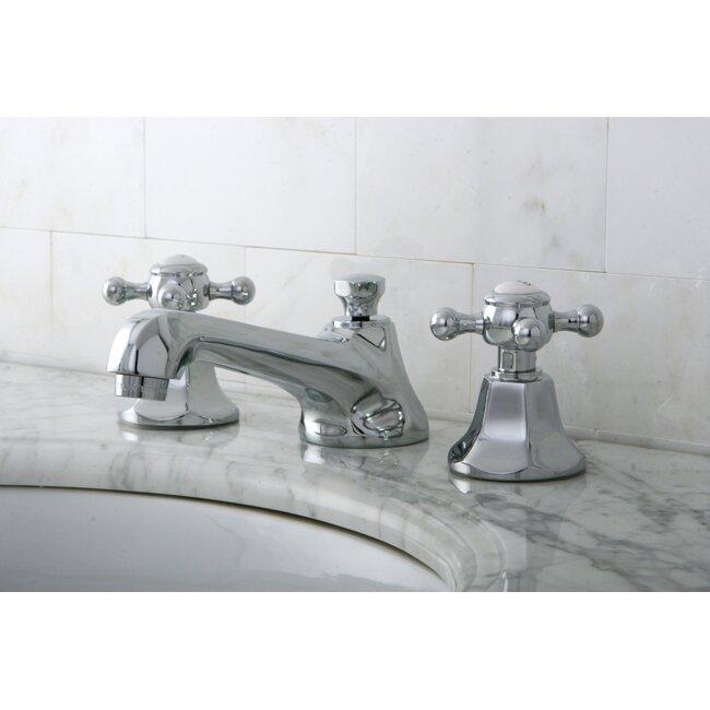 Kingston Brass Metropolitan Double Handle Widespread Bathroom Faucet With Pop